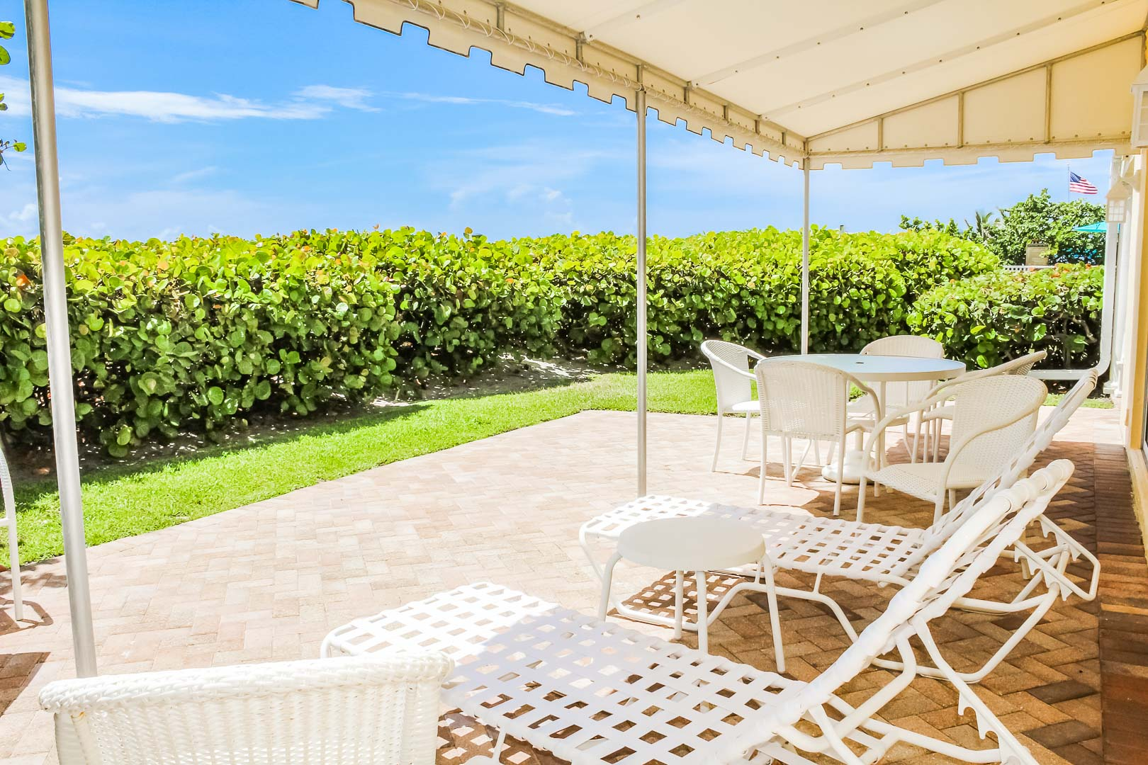 A relaxing patio area at VRI's Berkshire on the Ocean in Florida.