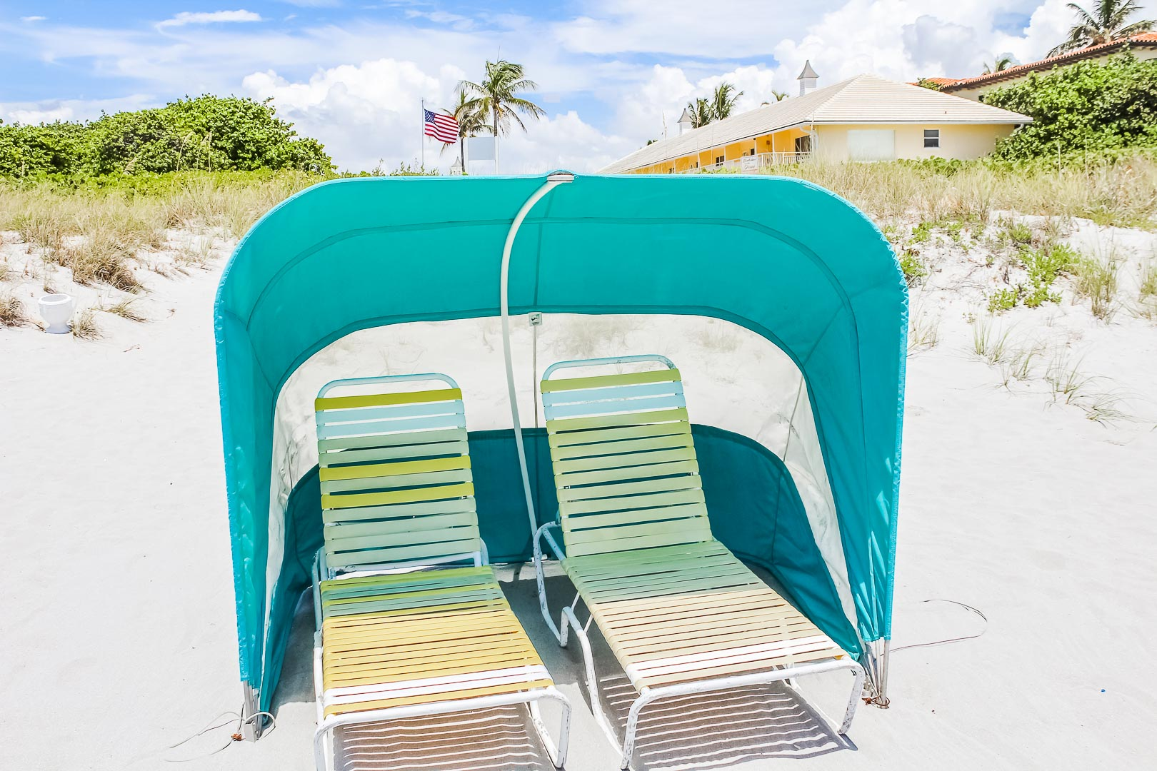 A refreshing cabana with ocean view at VRI's Berkshire on the Ocean in Florida.