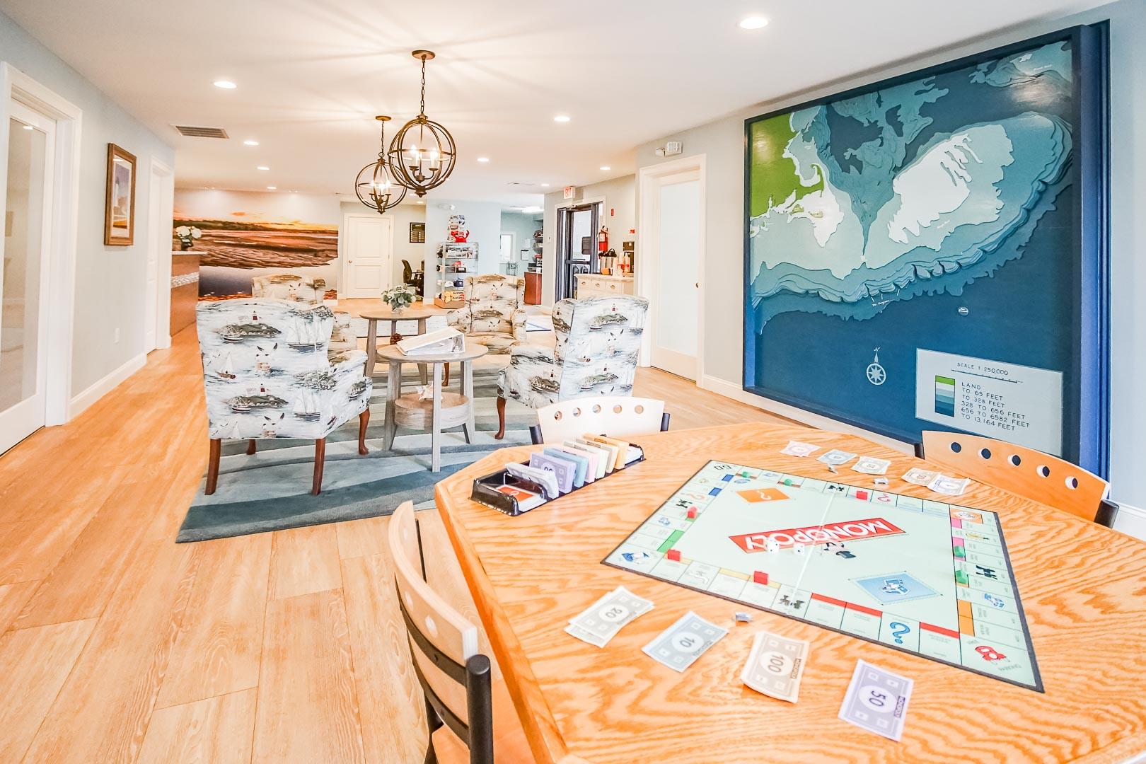 An entertaining lobby area at VRI's Brewster Green Resort in Massachusetts.