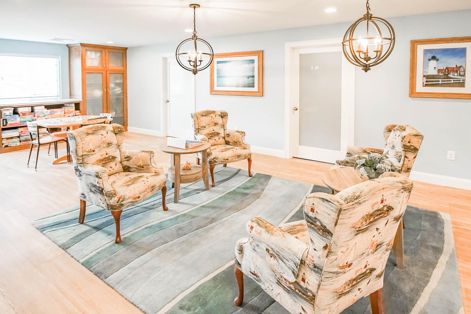 A vibrant lobby area at VRI's Brewster Green Resort in Massachusetts.