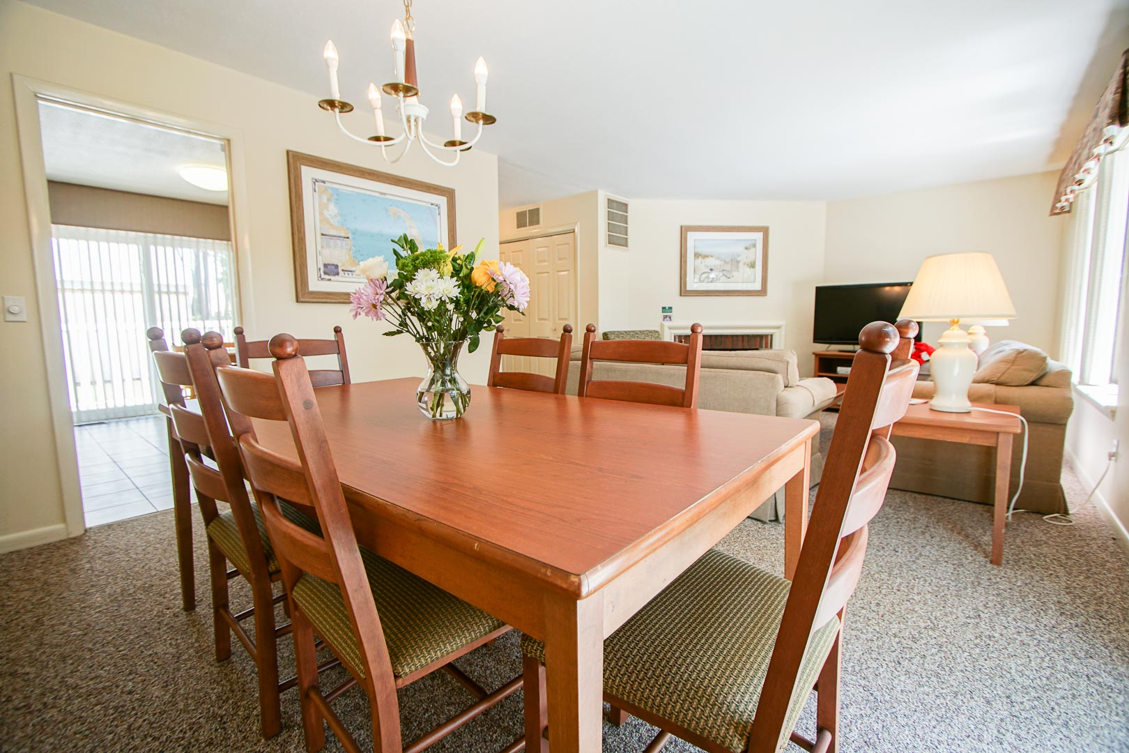 An expansive living room area at VRI's Brewster Green Resort in Massachusetts.