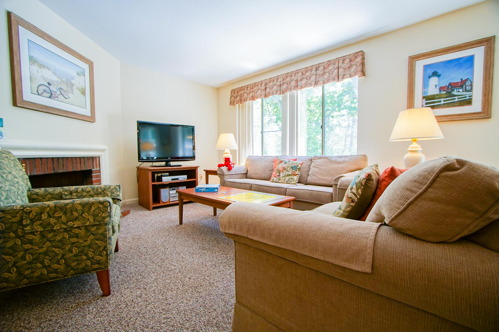 A spacious living room area at VRI's Brewster Green Resort in Massachusetts.