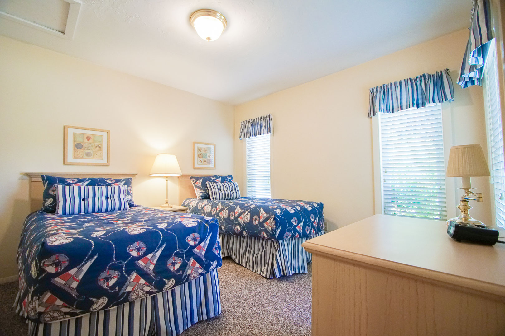 A two bedroom with twin beds available at VRI's Brewster Green Resort in Massachusetts.
