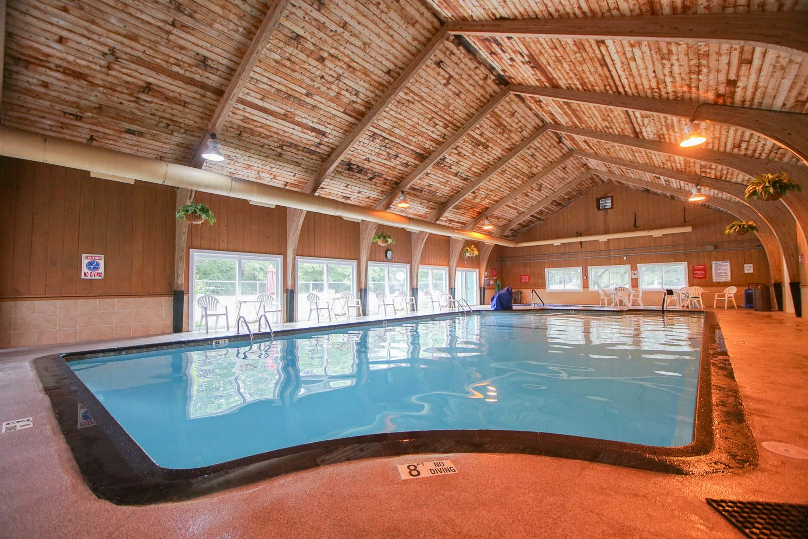 An expansive indoor swimming pool at VRI's Brewster Green Resort in Massachusetts.