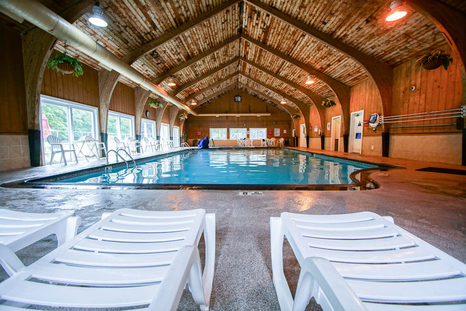 An all year round indoor swimming pool at VRI's Brewster Green Resort in Massachusetts.