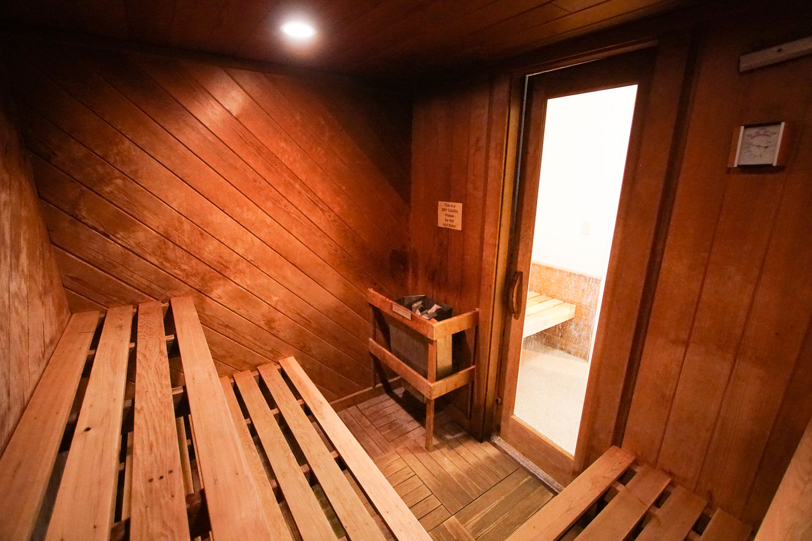 A relaxing hot sauna room at VRI's Brewster Green Resort in Massachusetts.