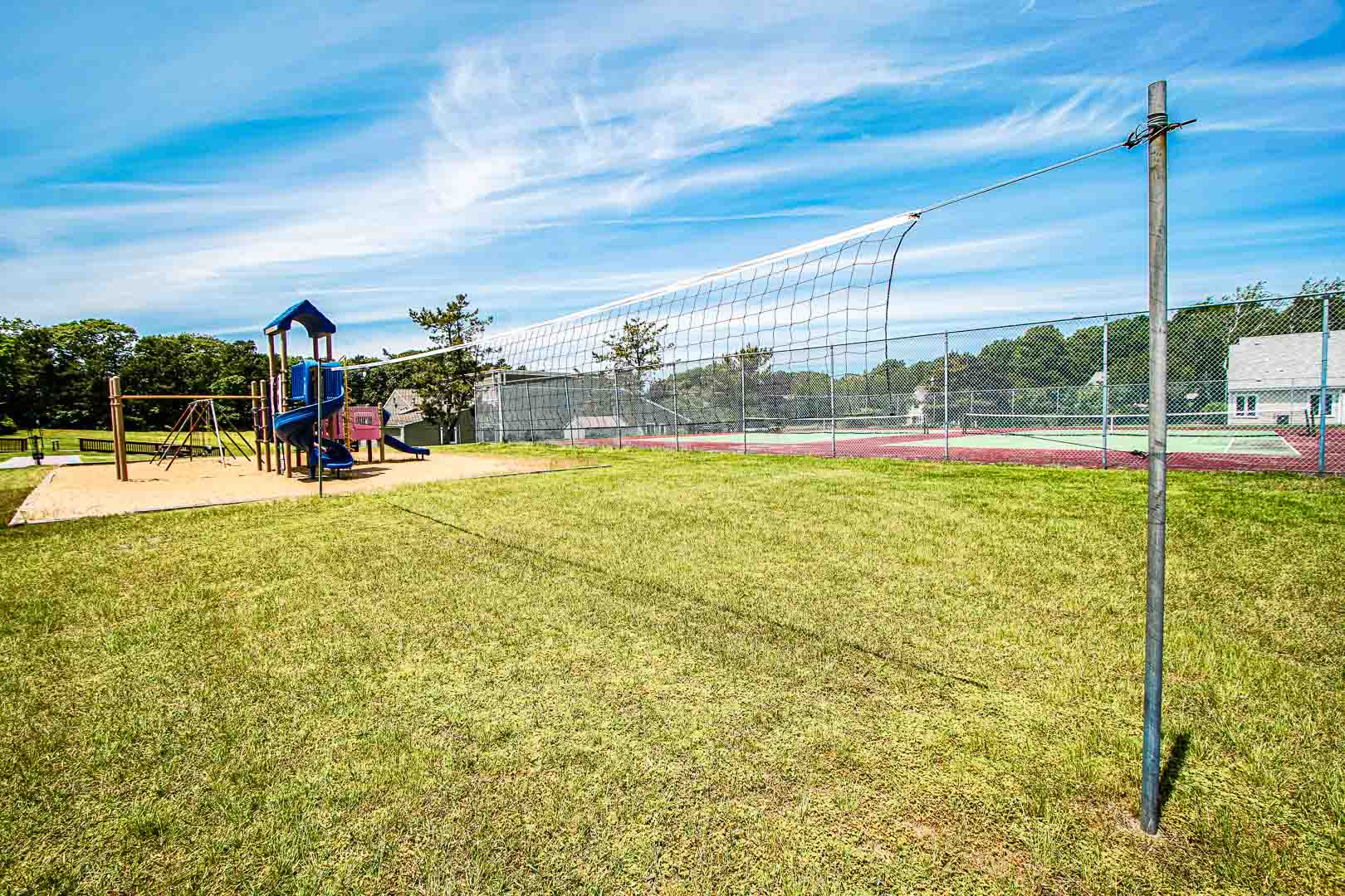 We offer outdoor amenities like volleyball at VRI's Brewster Green Resort in Massachusetts.