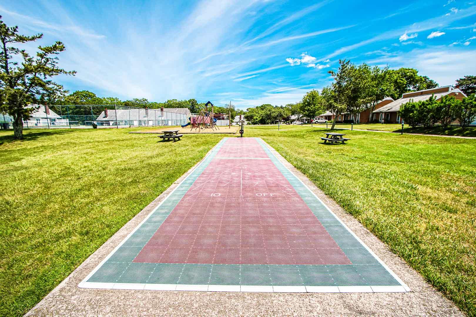 Entertaining amenities that the family can enjoy at VRI's Brewster Green Resort in Massachusetts.
