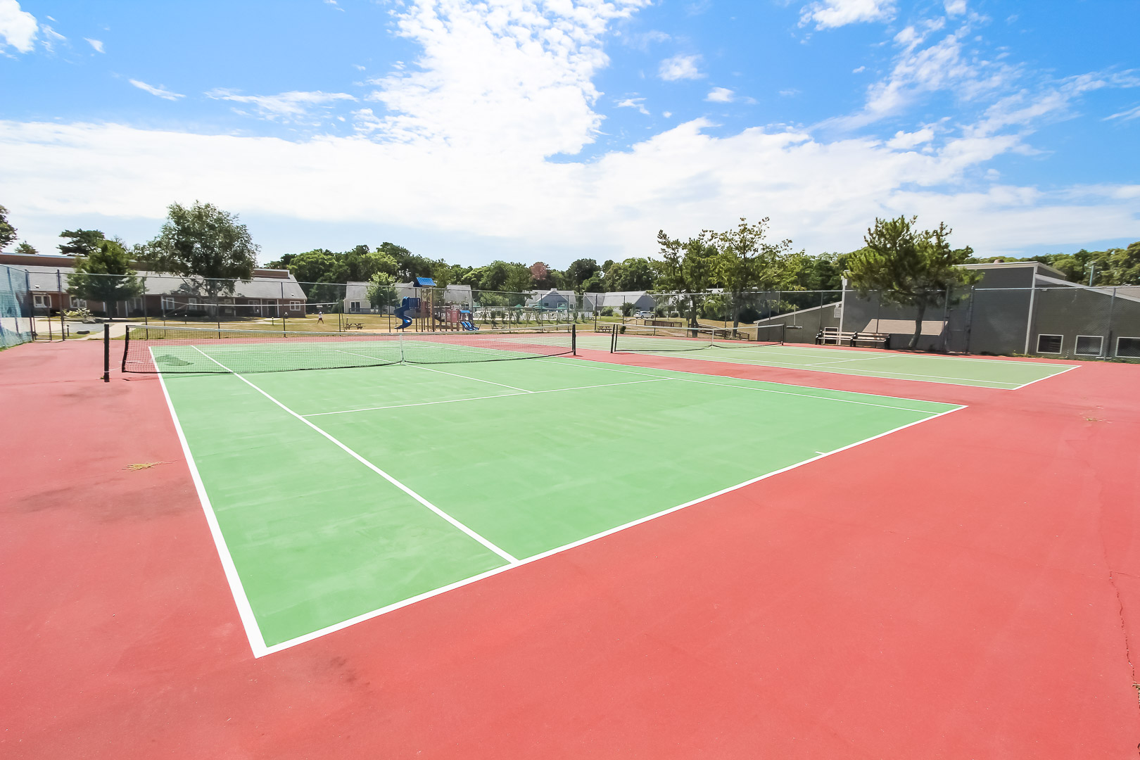 Full size tennis courts available for the family to enjoy at VRI's Brewster Green Resort in Massachusetts.