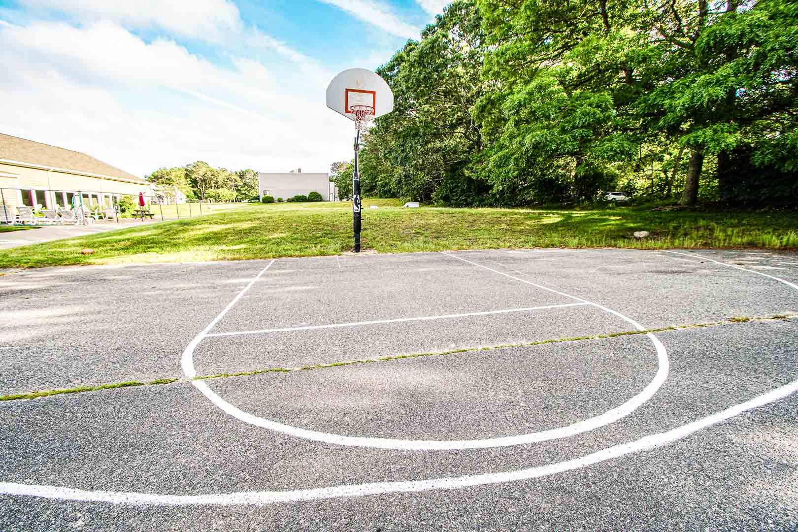 Outdoor activities such as basketball courts are available at VRI's Brewster Green Resort in Massachusetts.