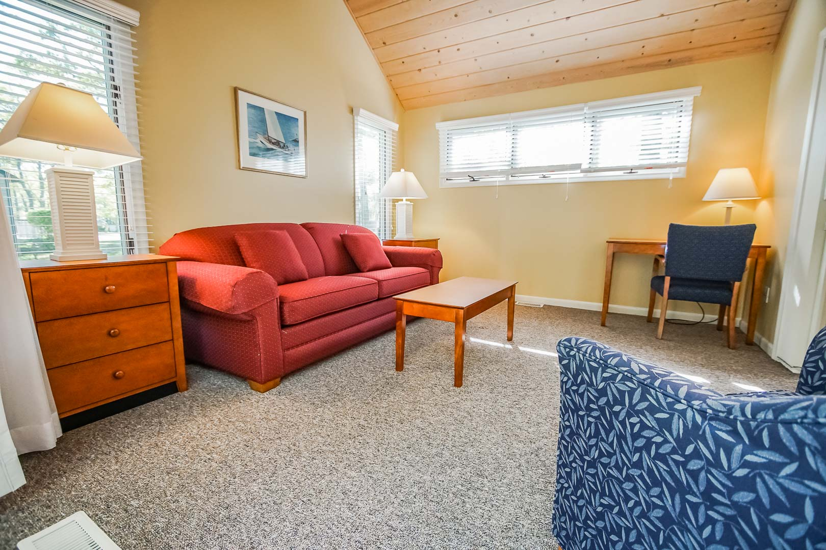 A peaceful living room area at VRI's Cape Cod Holiday Estates in Massachusetts.