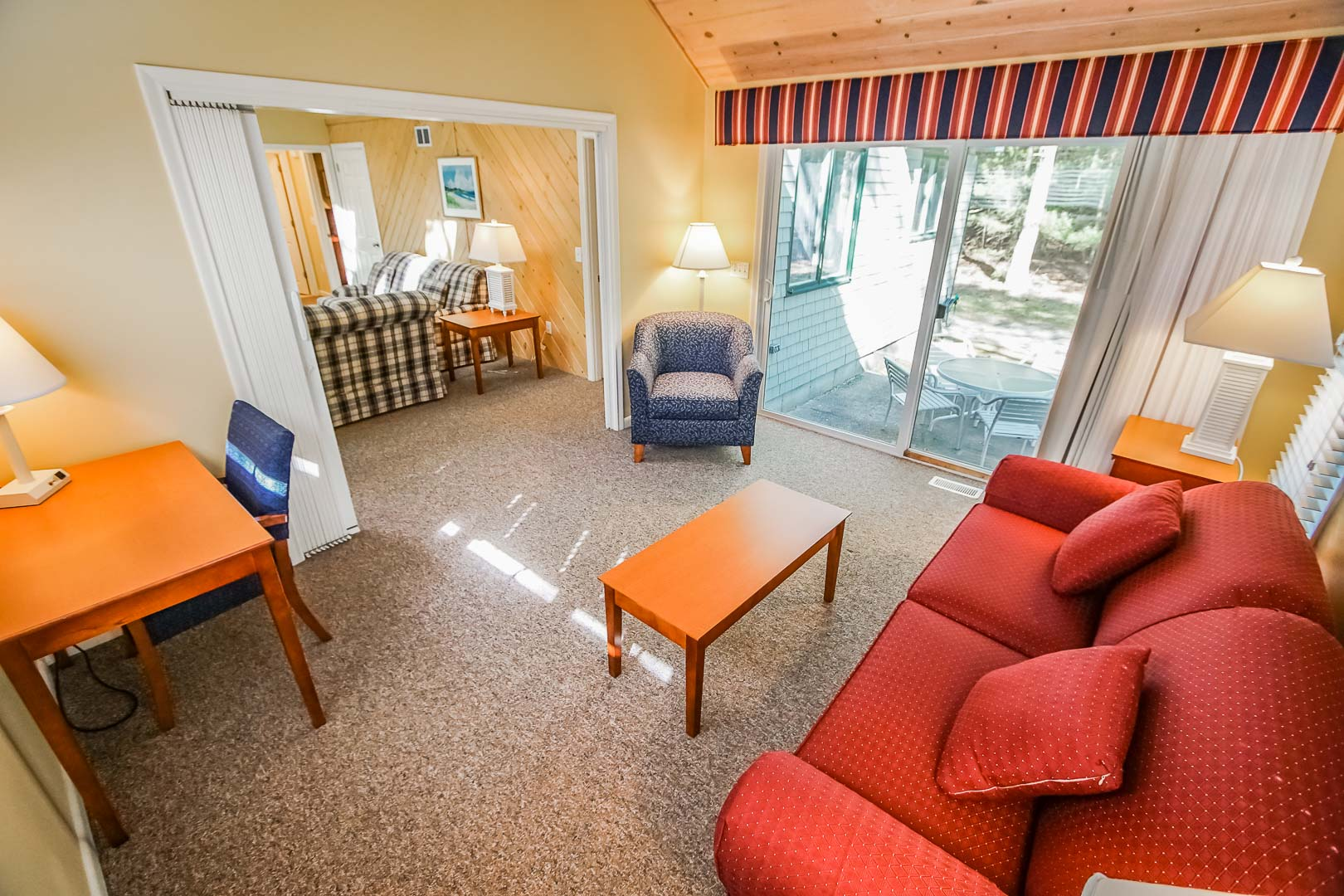 A spacious one bedroom unit with a living room area at VRI's Cape Cod Holiday Estates in Massachusetts.