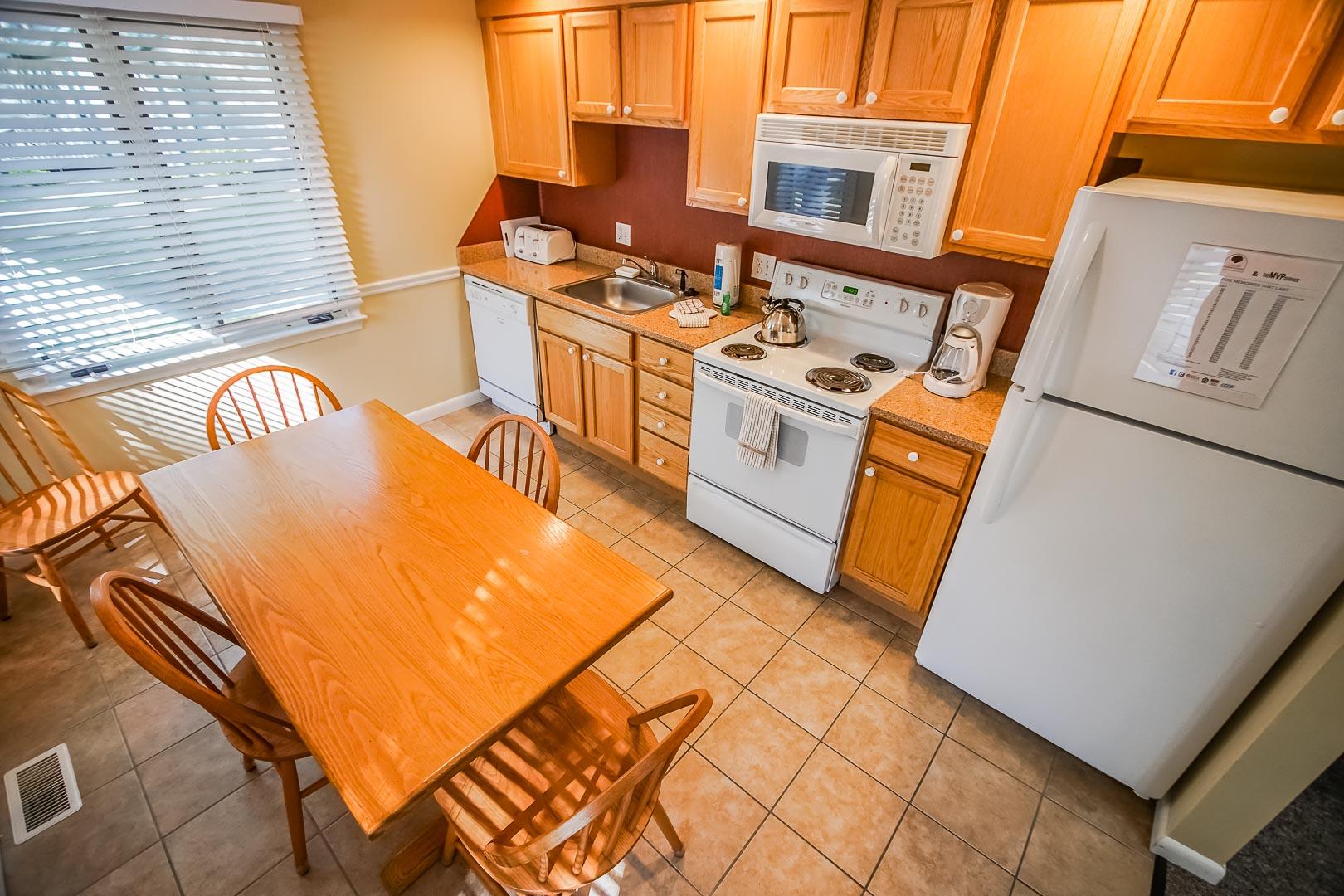 A modern full size kitchen at VRI's Cape Cod Holiday Estates in Massachusetts.