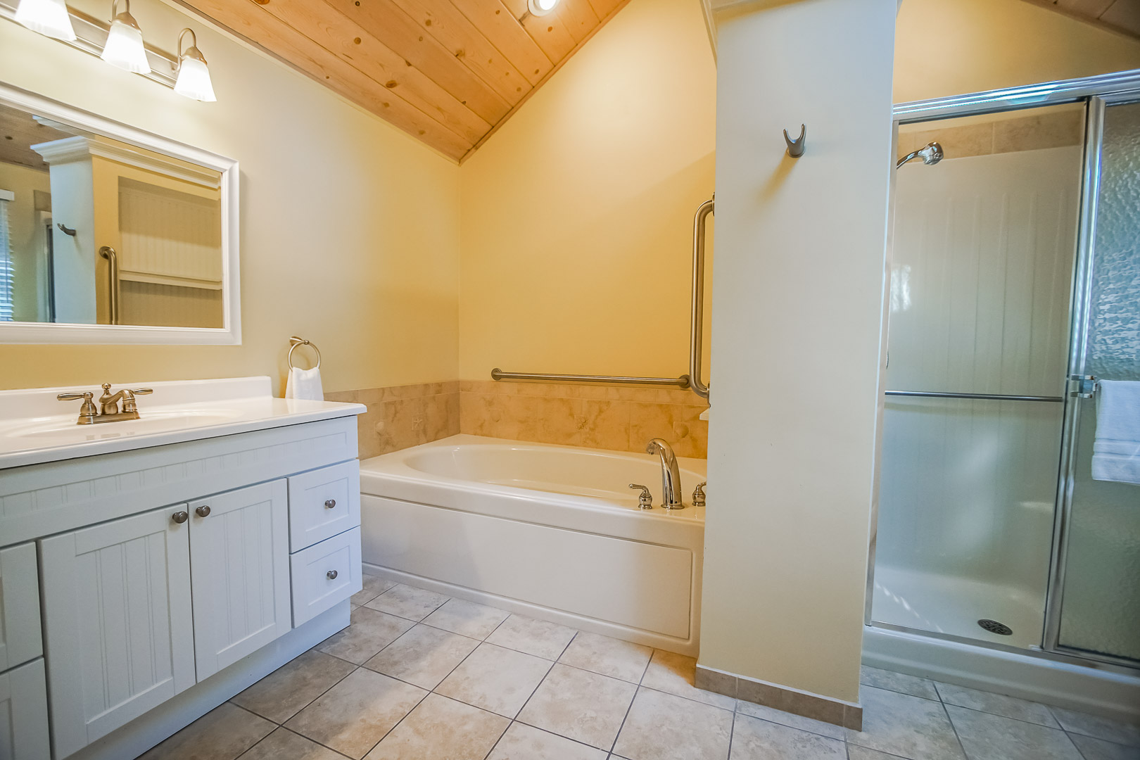 A renovated full size bathroom at VRI's Cape Cod Holiday Estates in Massachusetts.