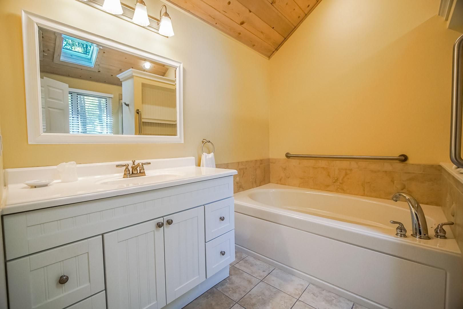 A spacious full size bathroom at VRI's Cape Cod Holiday Estates in Massachusetts.
