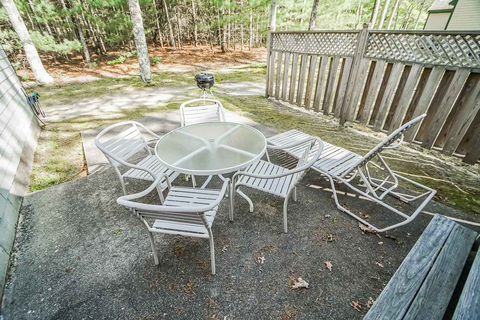 A tranquil patio area at VRI's Cape Cod Holiday Estates in Massachusetts.