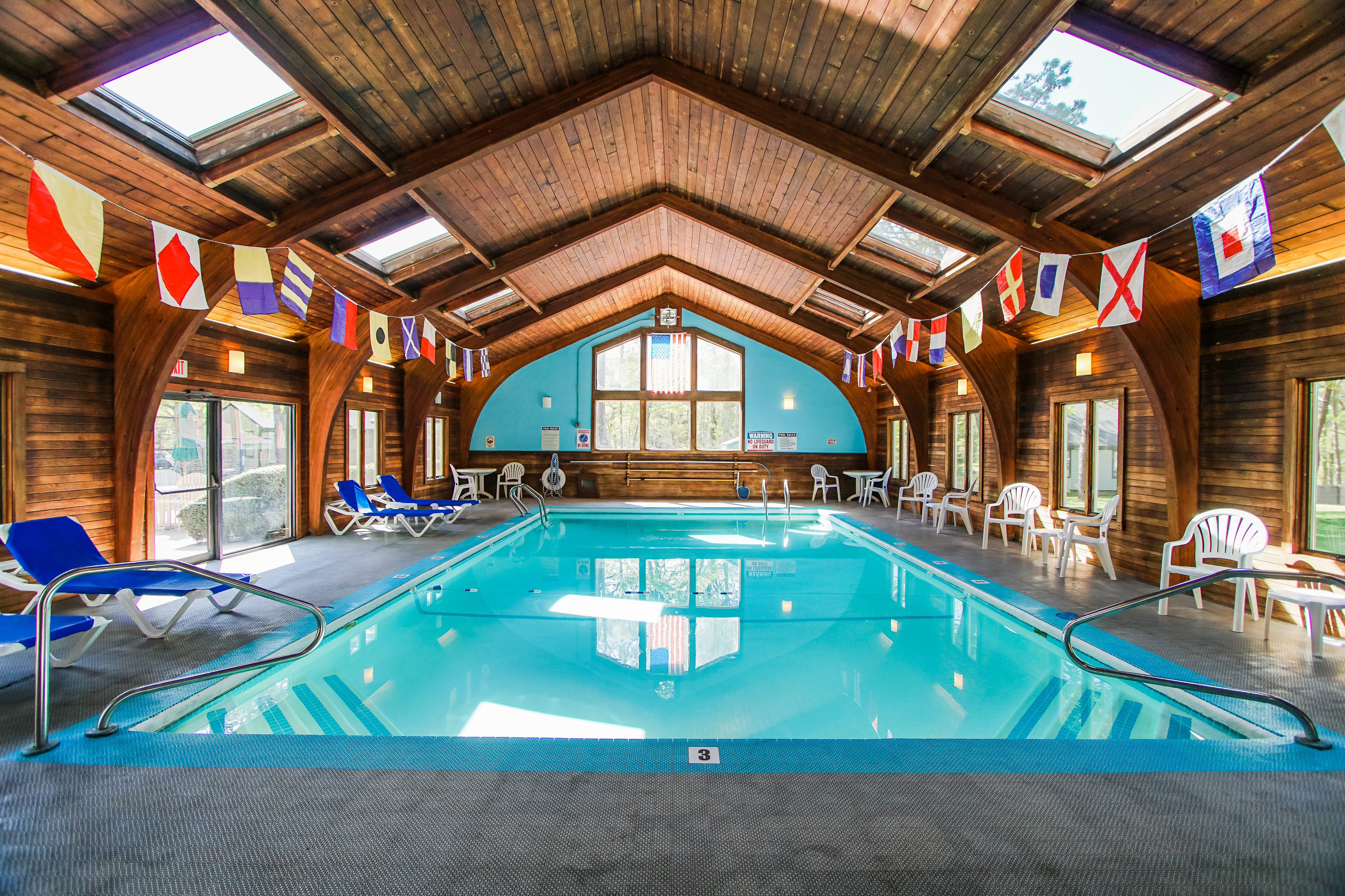 A stoic indoor swimming pool at VRI's Cape Cod Holiday Estates in Massachusetts.