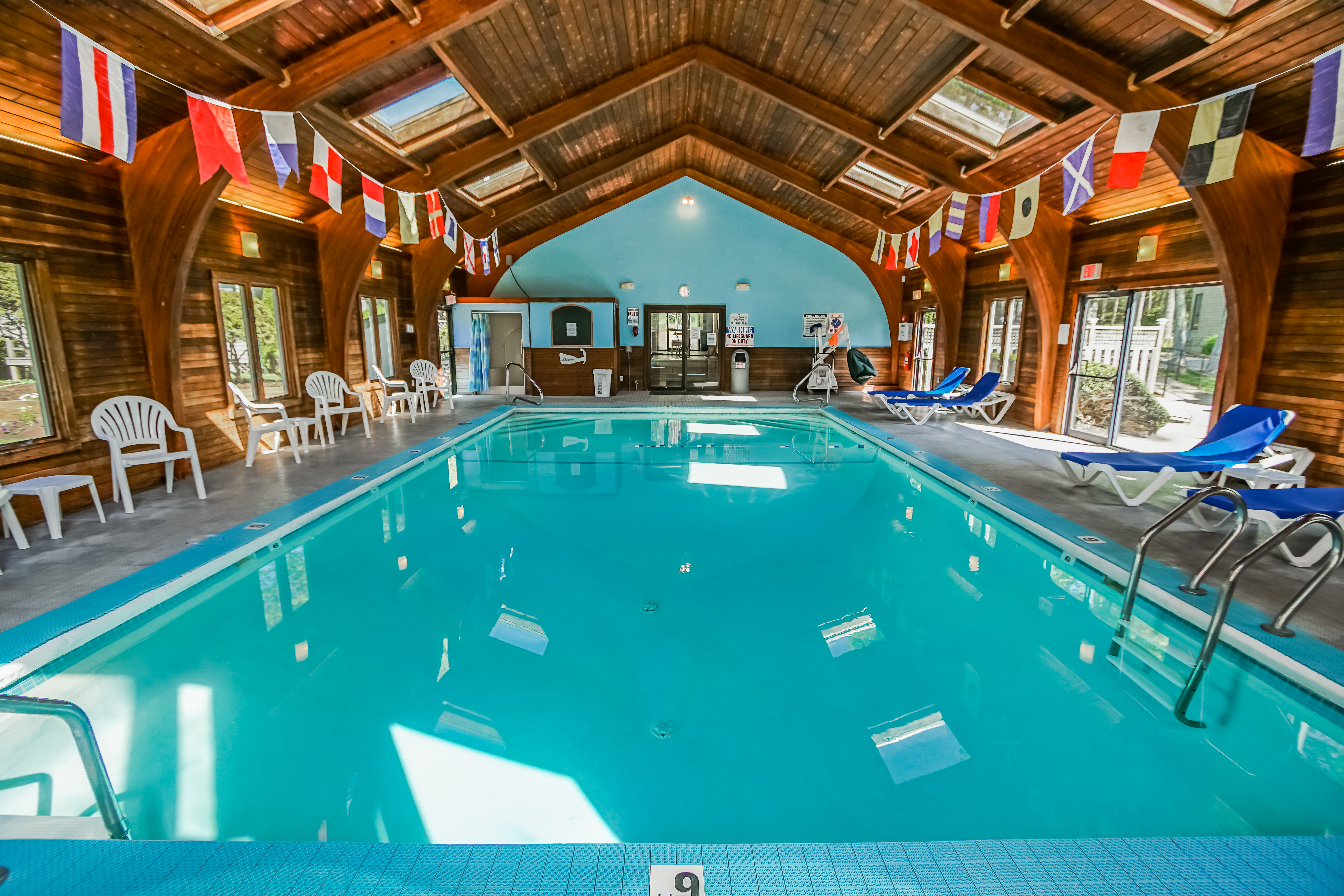 A serene view of the indoor pool at VRI's Cape Cod Holiday Estates in Massachusetts.