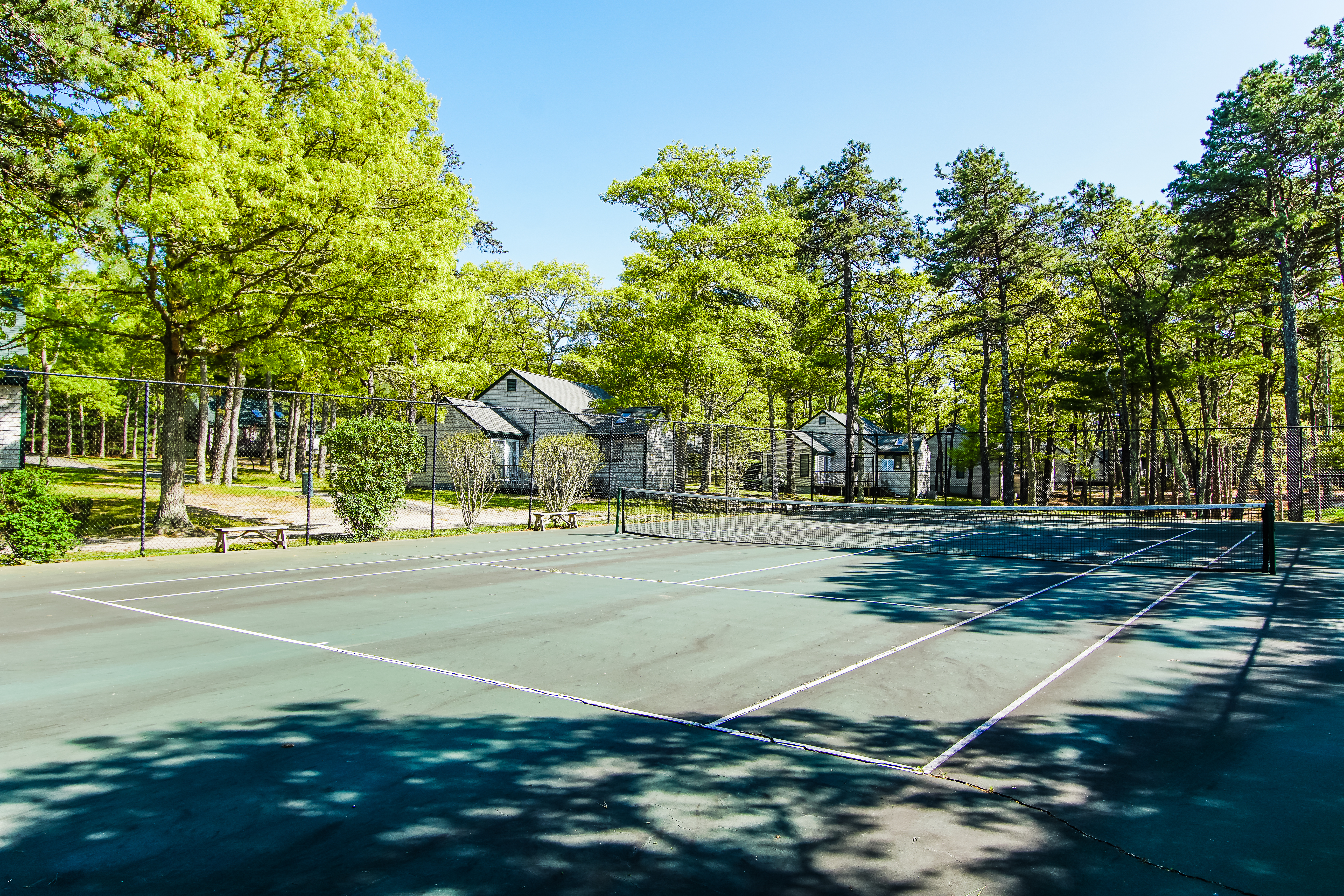 Tennis courts available at VRI's Cape Cod Holiday Estates in Massachusetts.