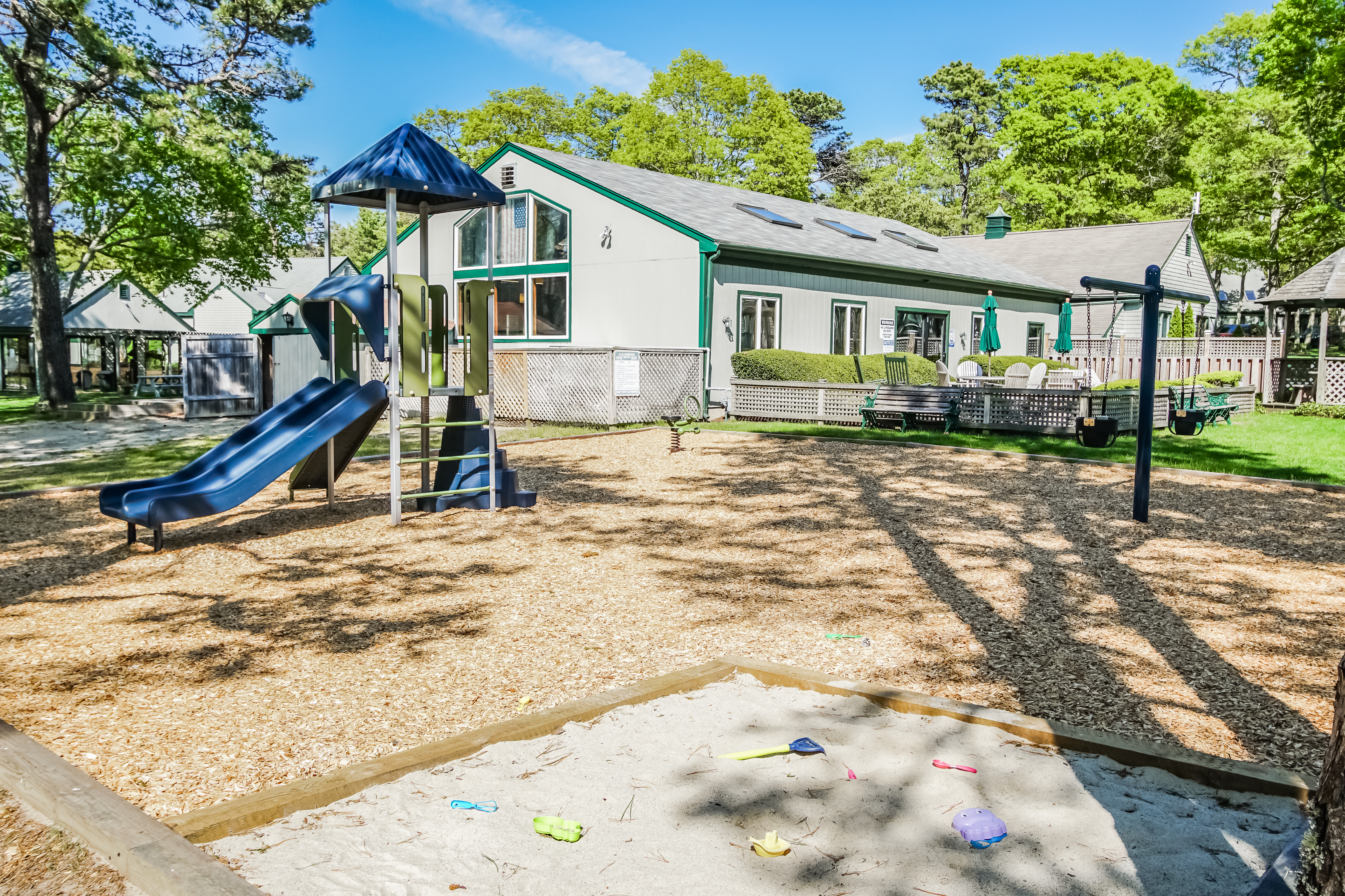An enjoyable children's playground at VRI's Cape Cod Holiday Estates in Massachusetts.