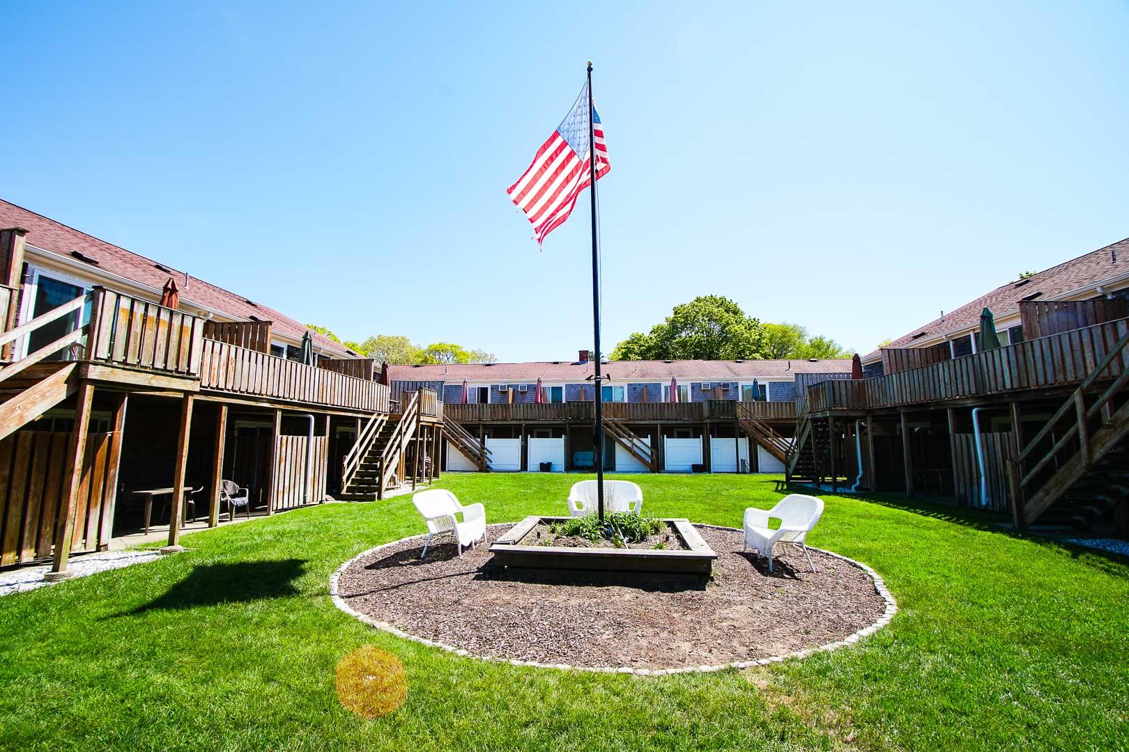 The stoic patio area at VRI's Cape Winds Resort in Massachusetts.