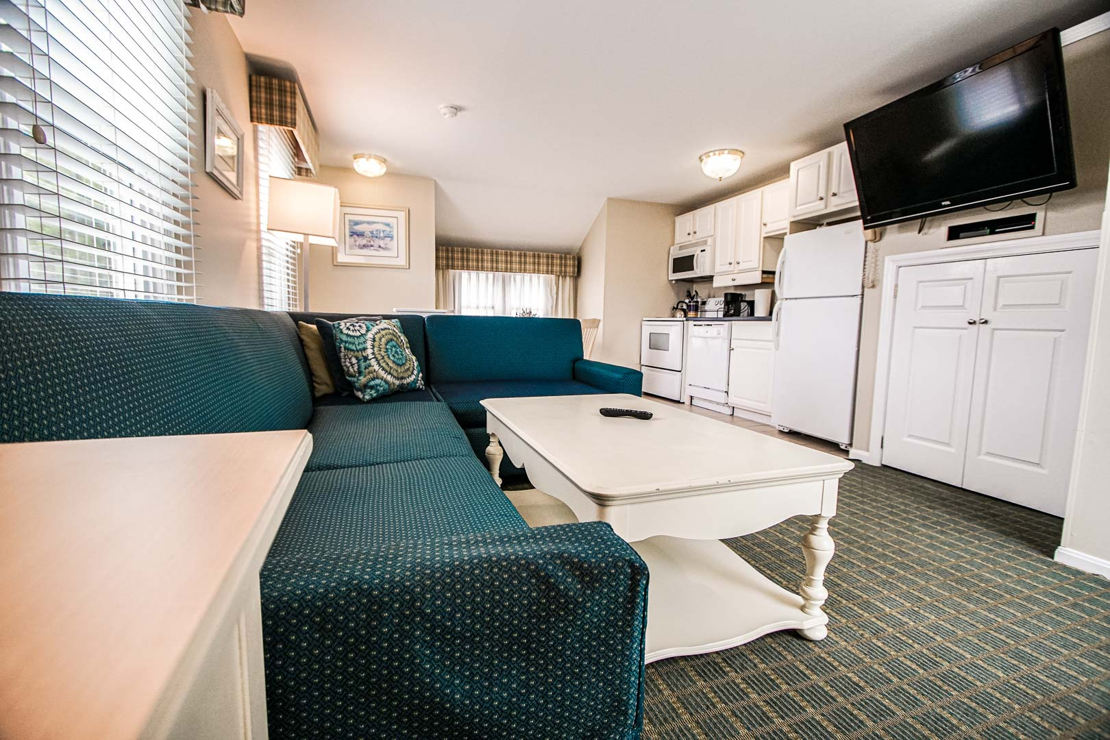 A roomy living room area at VRI's Cape Winds Resort in Massachusetts.
