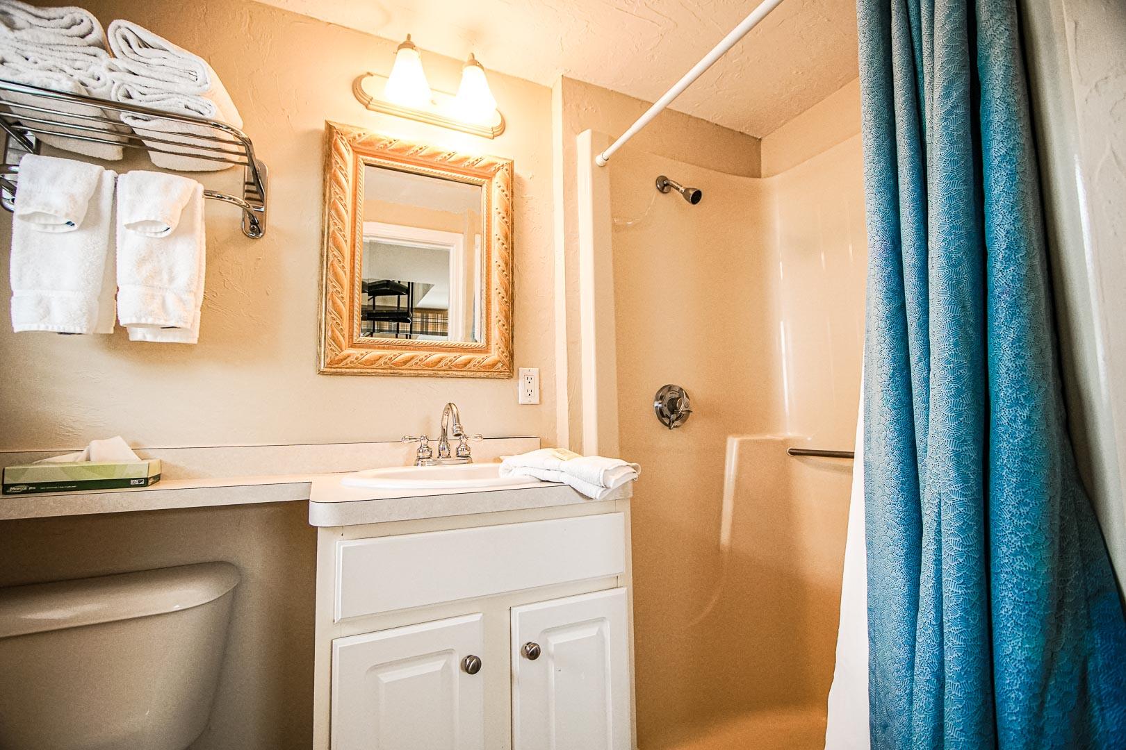 A standard bathroom at VRI's Cape Winds Resort in Massachusetts.