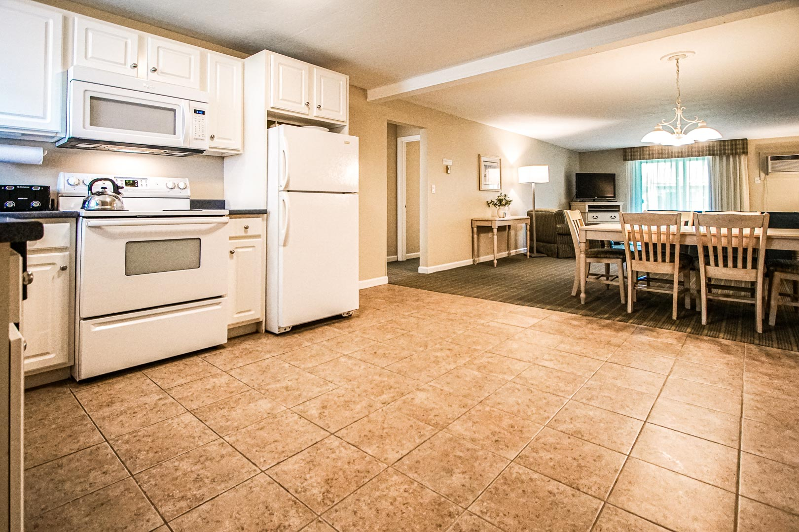 A spacious kitchen area at VRI's Cape Winds Resort in Massachusetts.