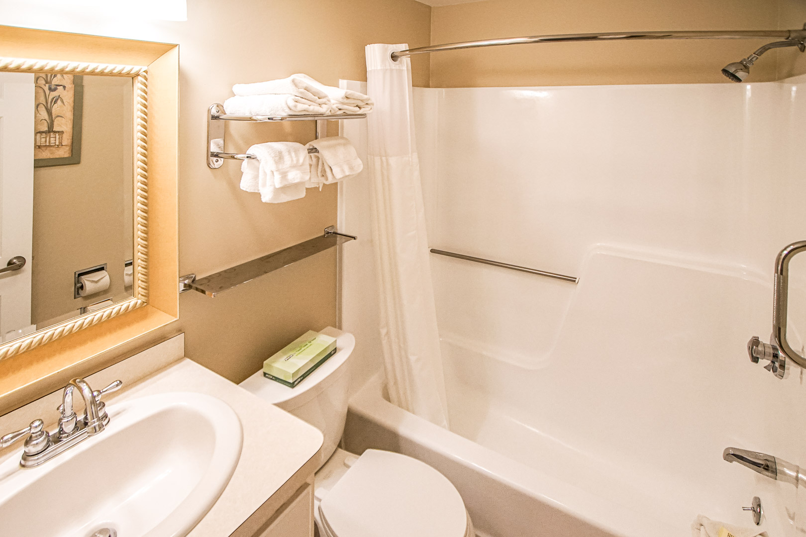 A clean and standard bathroom at VRI's Cape Winds Resort in Massachusetts.