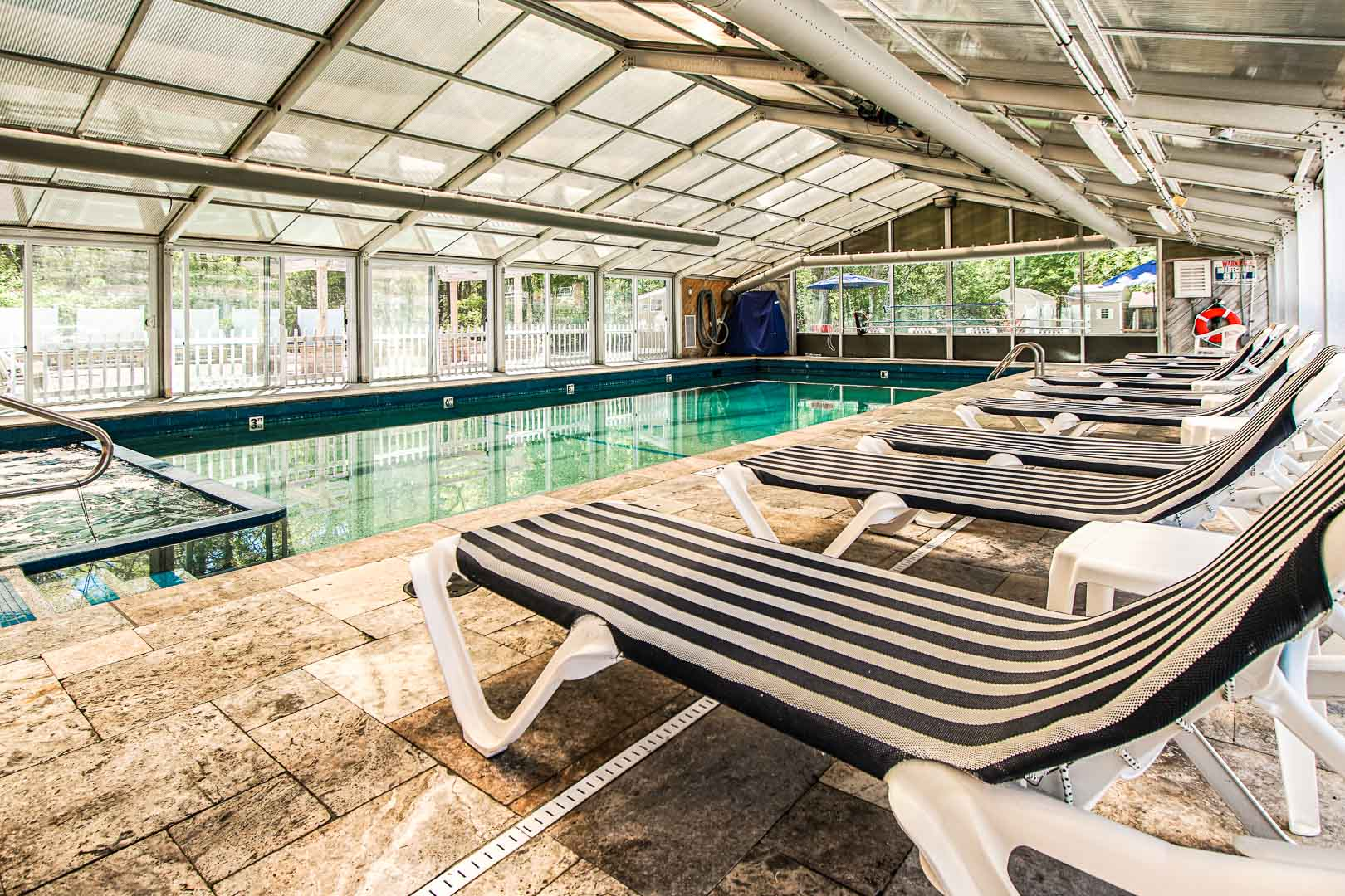 An expansive indoor swimming pool at VRI's Cape Winds Resort in Massachusetts.