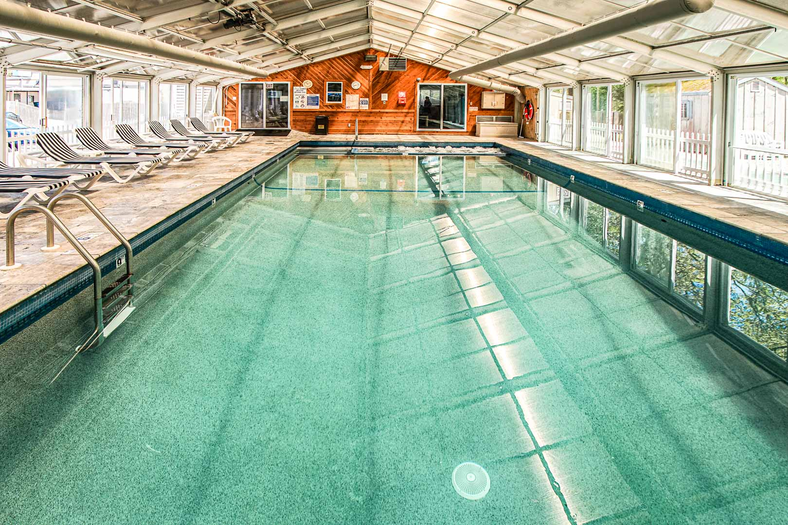 An ample indoor swimming pool at VRI's Cape Winds Resort in Massachusetts.