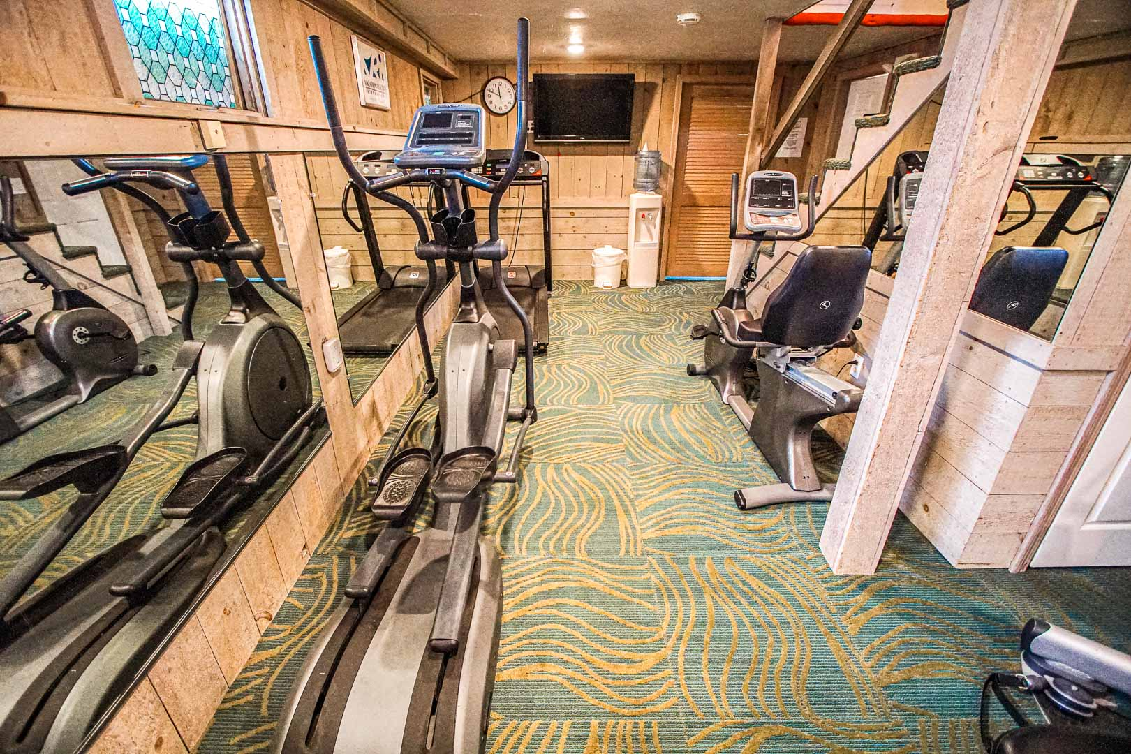 An indoor gym at VRI's Cape Winds Resort in Massachusetts.