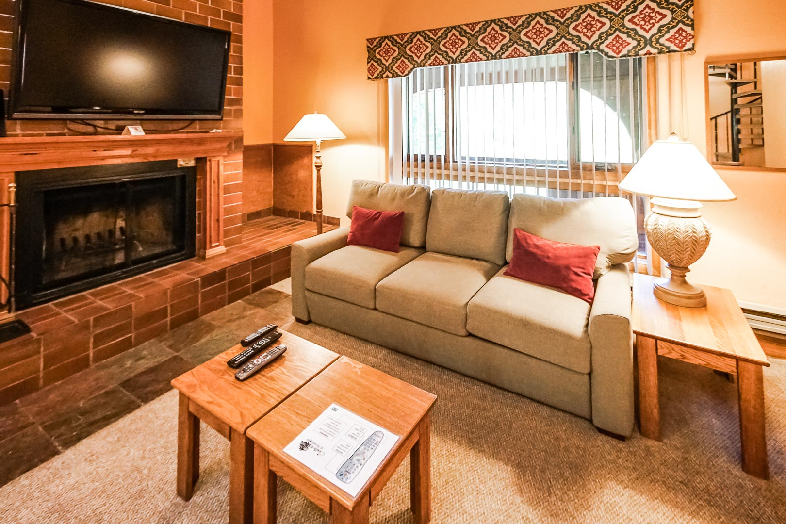 A cozy living room area at VRI's Cedar at Streamside in Colorado.
