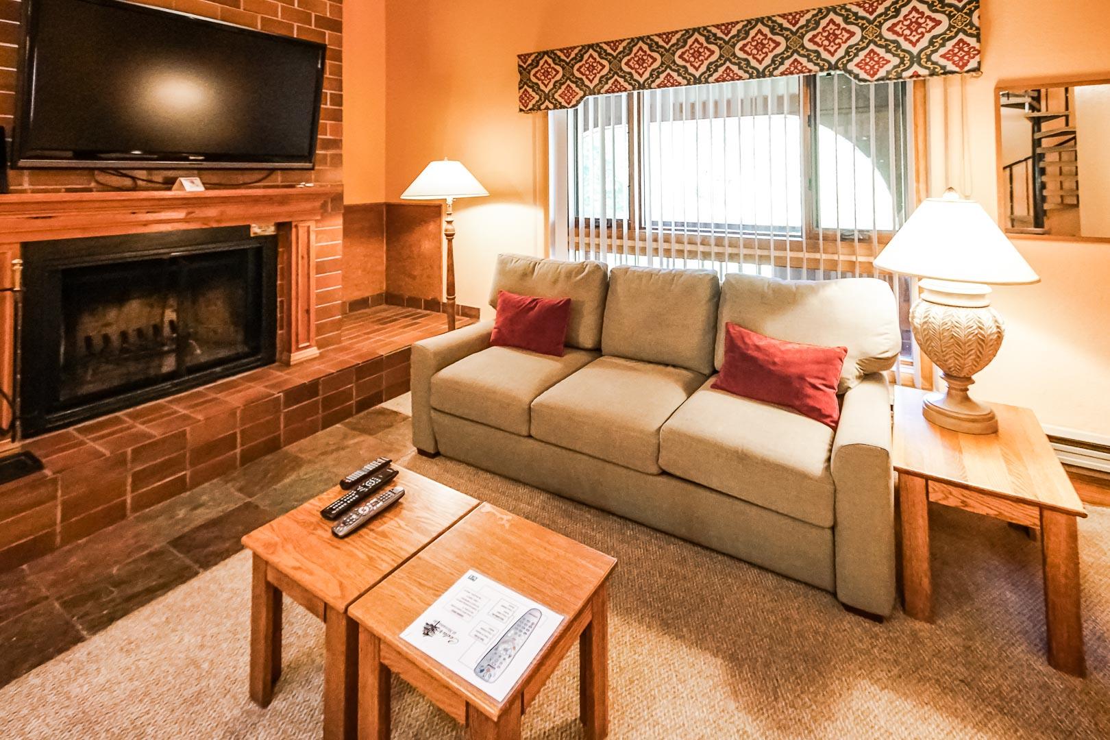 A cozy living room area at VRI's Cedar at Streamside in Colorado.