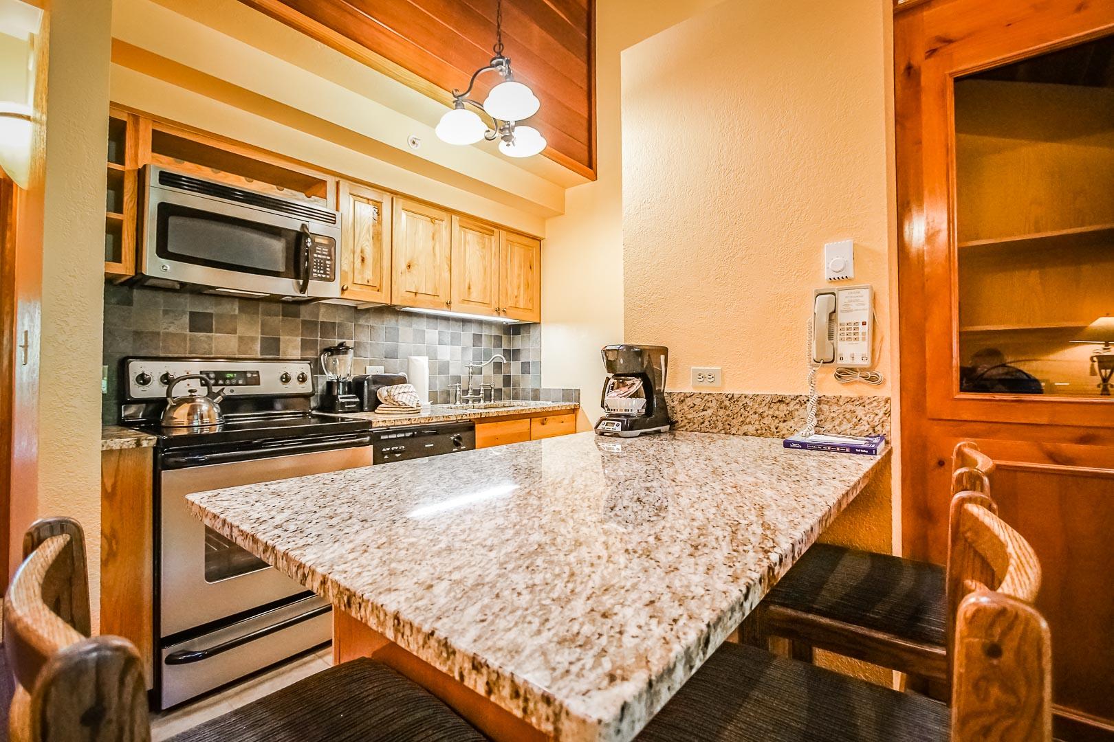 A renovated kitchen area at VRI's Cedar at Streamside in Colorado.