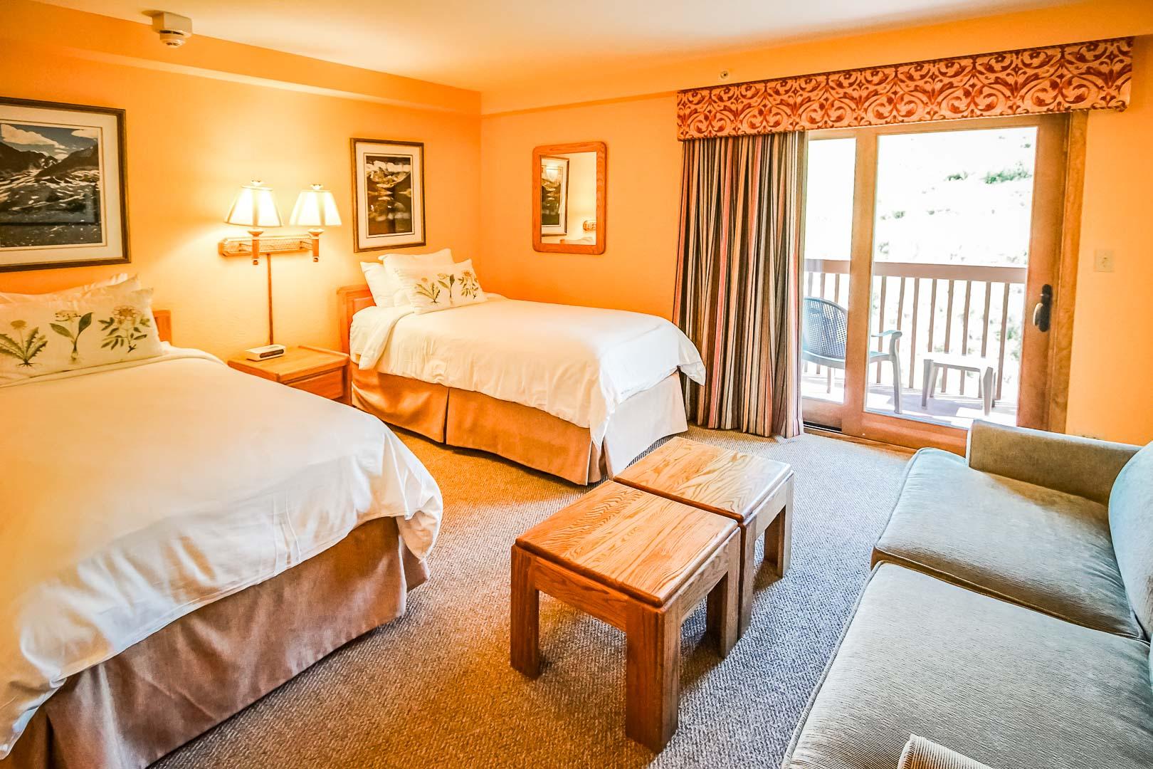 A vibrant bedroom at VRI's Cedar at Streamside in Colorado.