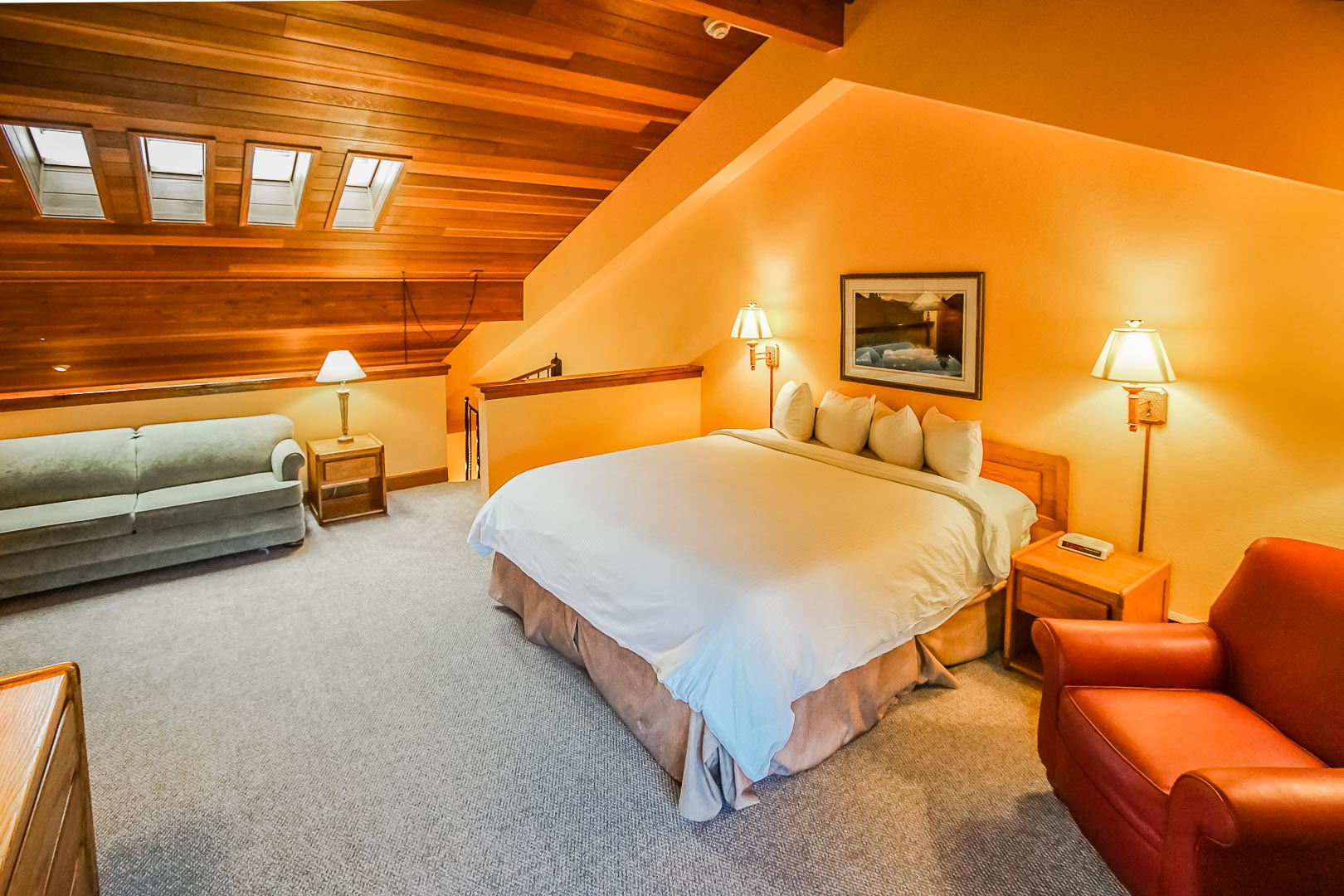 A king size bed on a loft area at VRI's Cedar at Streamside in Colorado.