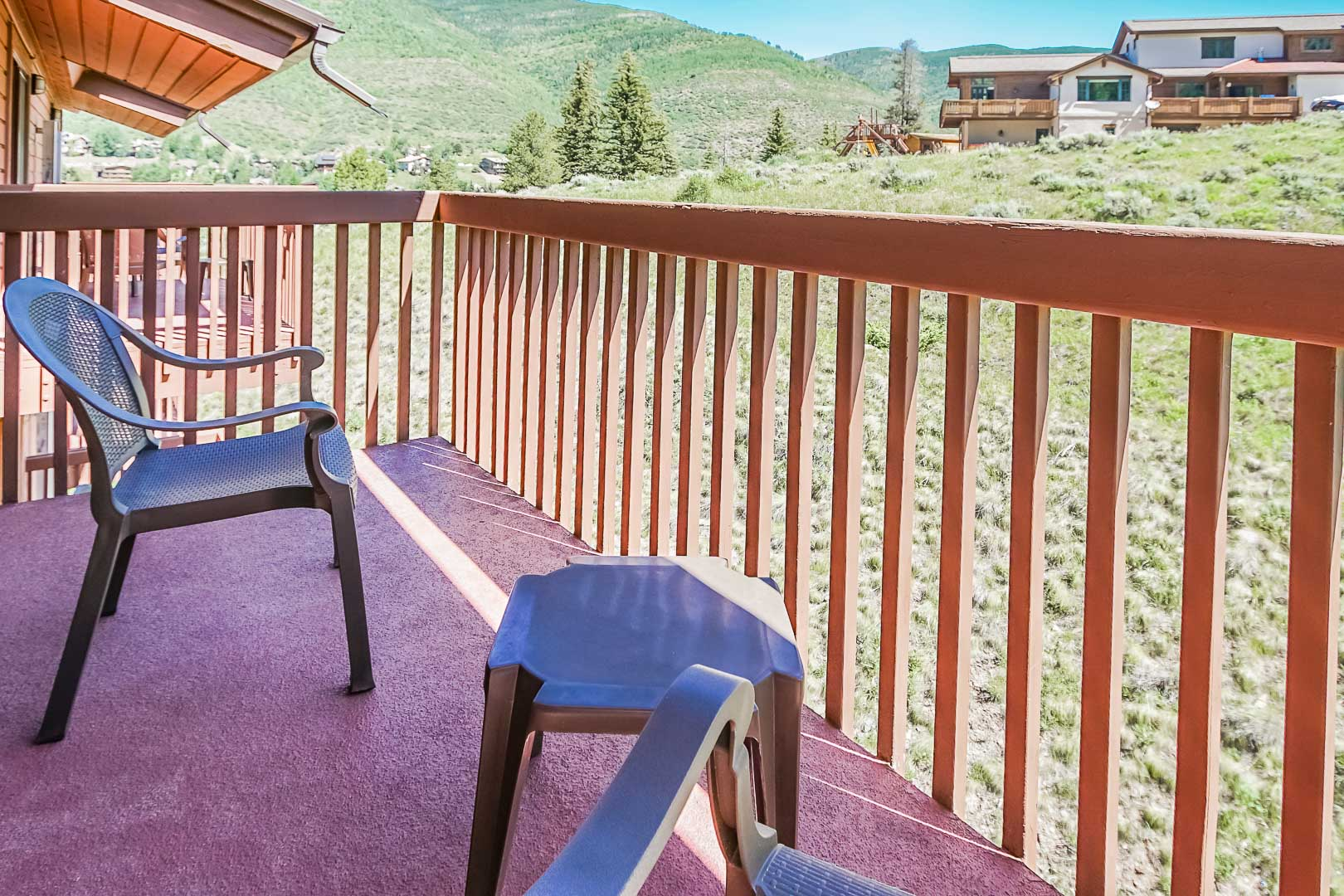 A peaceful view from the balcony at VRI's Cedar at Streamside in Colorado.