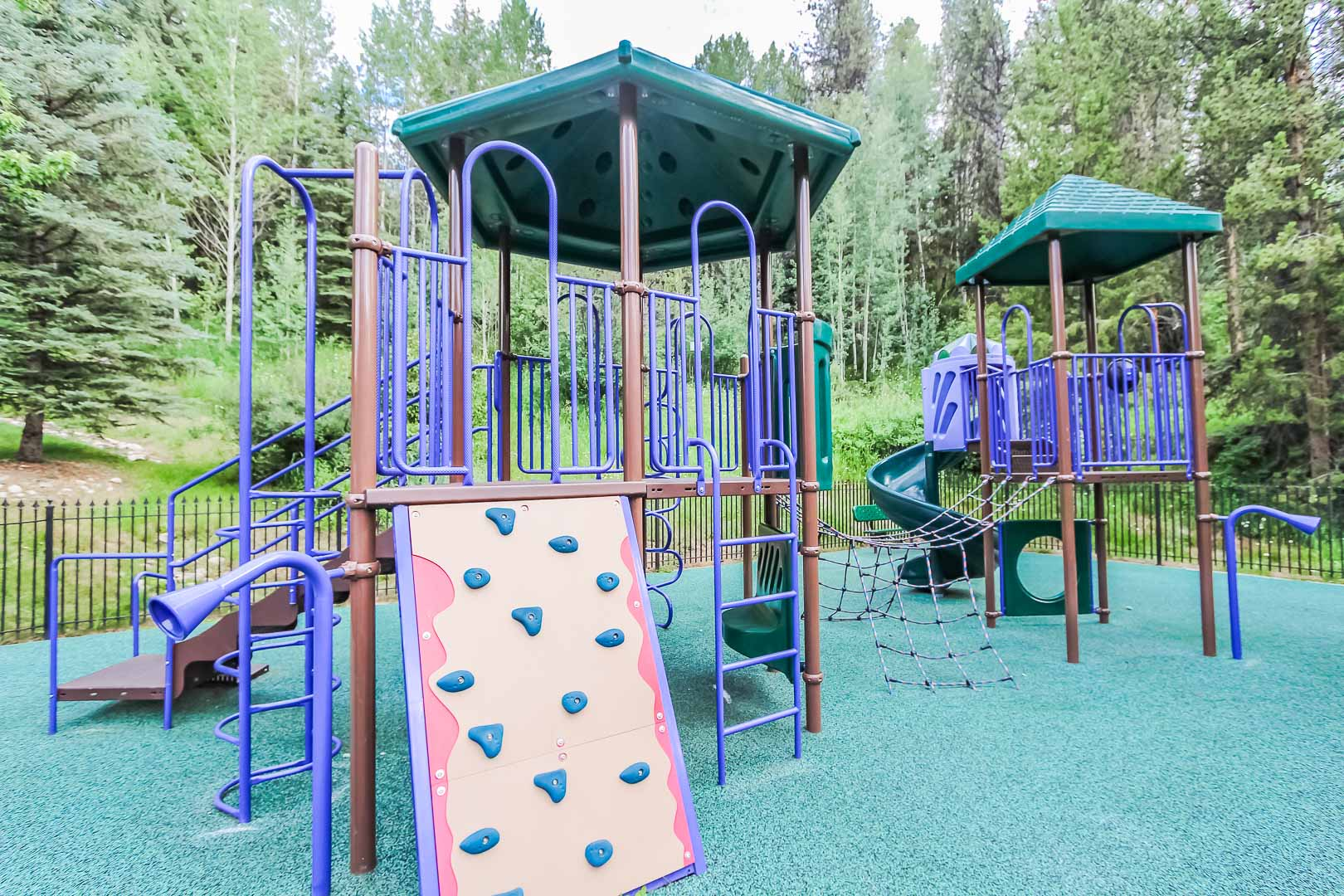 A colorful children's playground at VRI's Cedar at Streamside in Colorado.