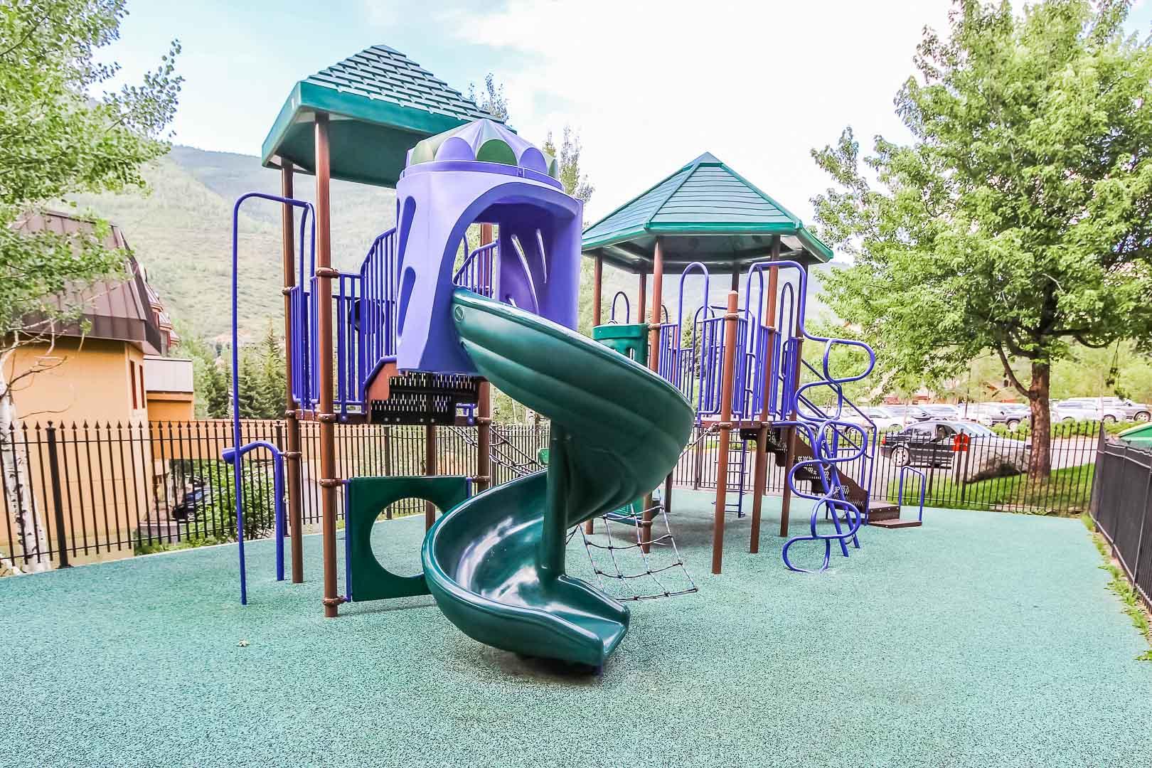 A colorful children's playground at VRI's Cedar at Streamside in Colorado.