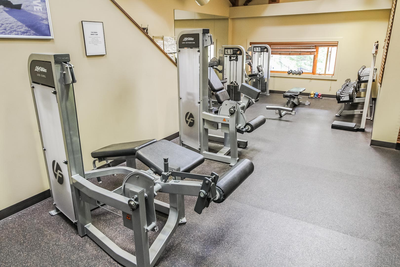 A fully equipped exercise room at VRI's Cedar at Streamside in Colorado.