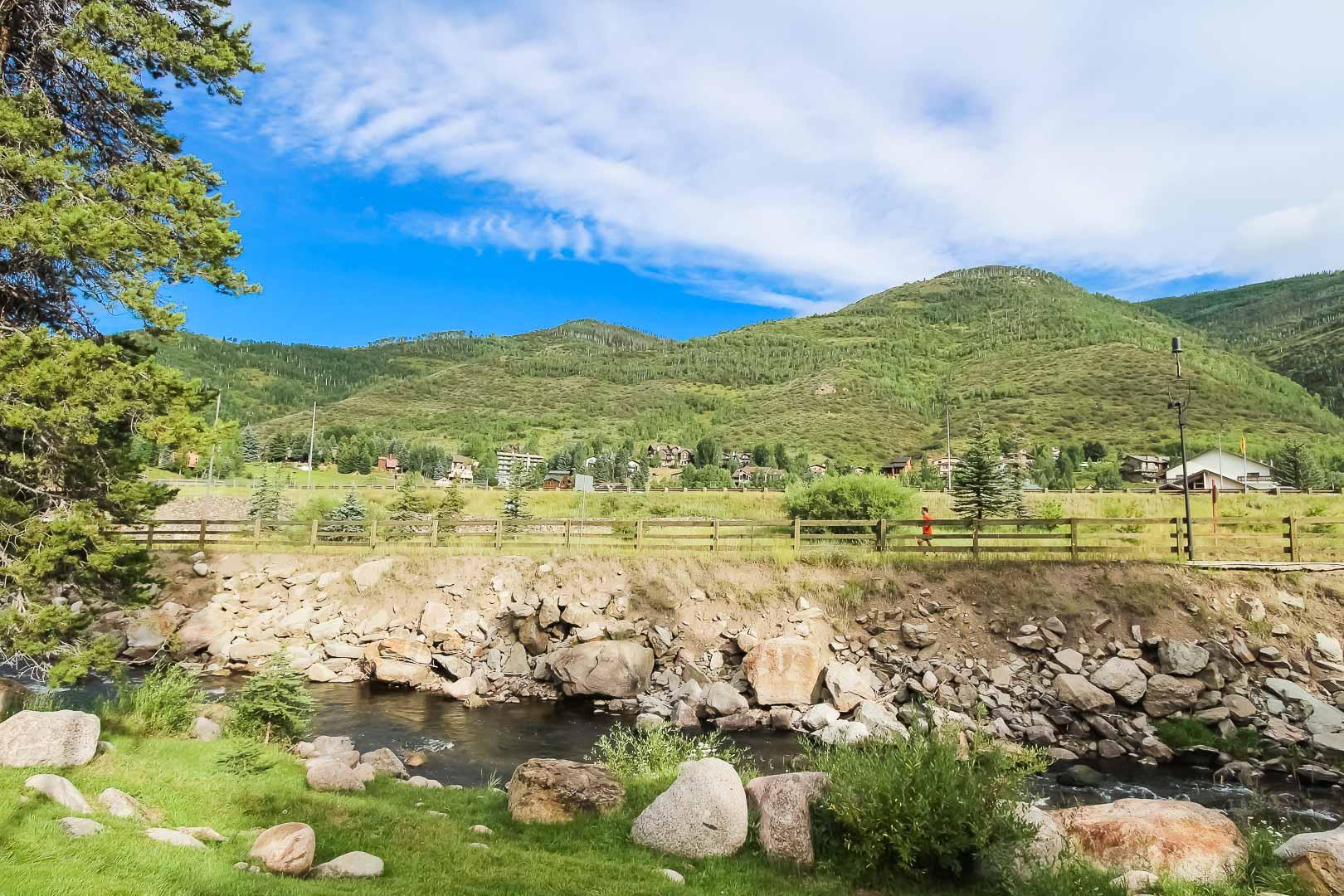 A peaceful view at VRI's Cedar at Streamside in Colorado.