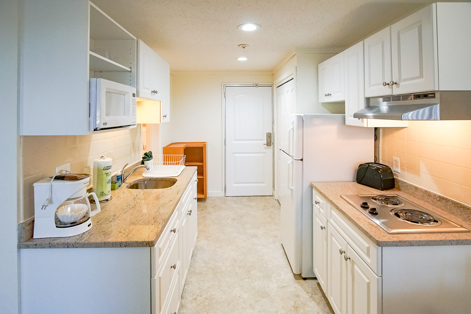 A renovated kitchen area at VRI's Courtyard Resort in Massachusetts.