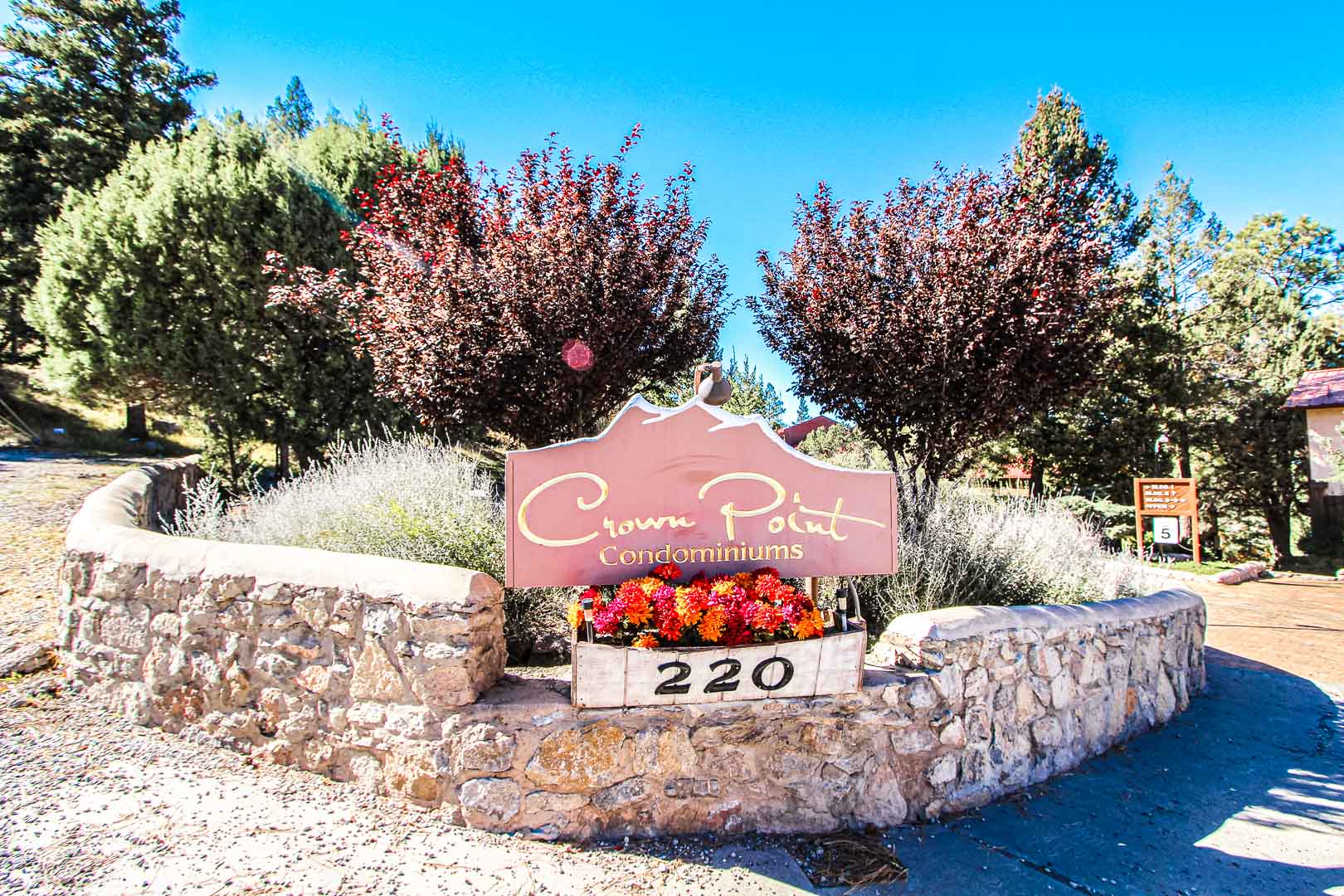 A vibrant resort entrance at VRI's Crown Point Condominiums in New Mexico.