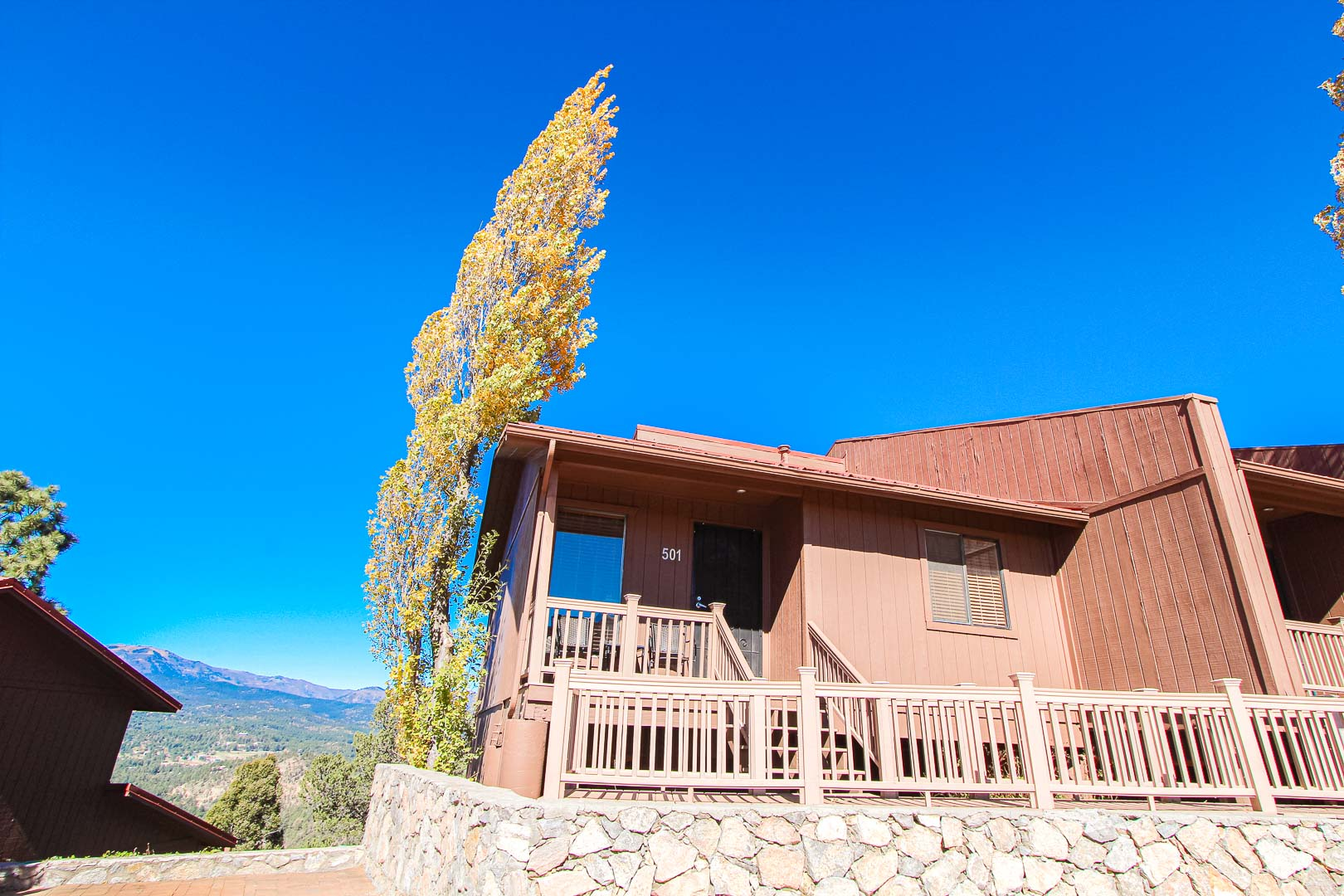 an airy view of the units  at VRI's Crown Point Condominiums in New Mexico.
