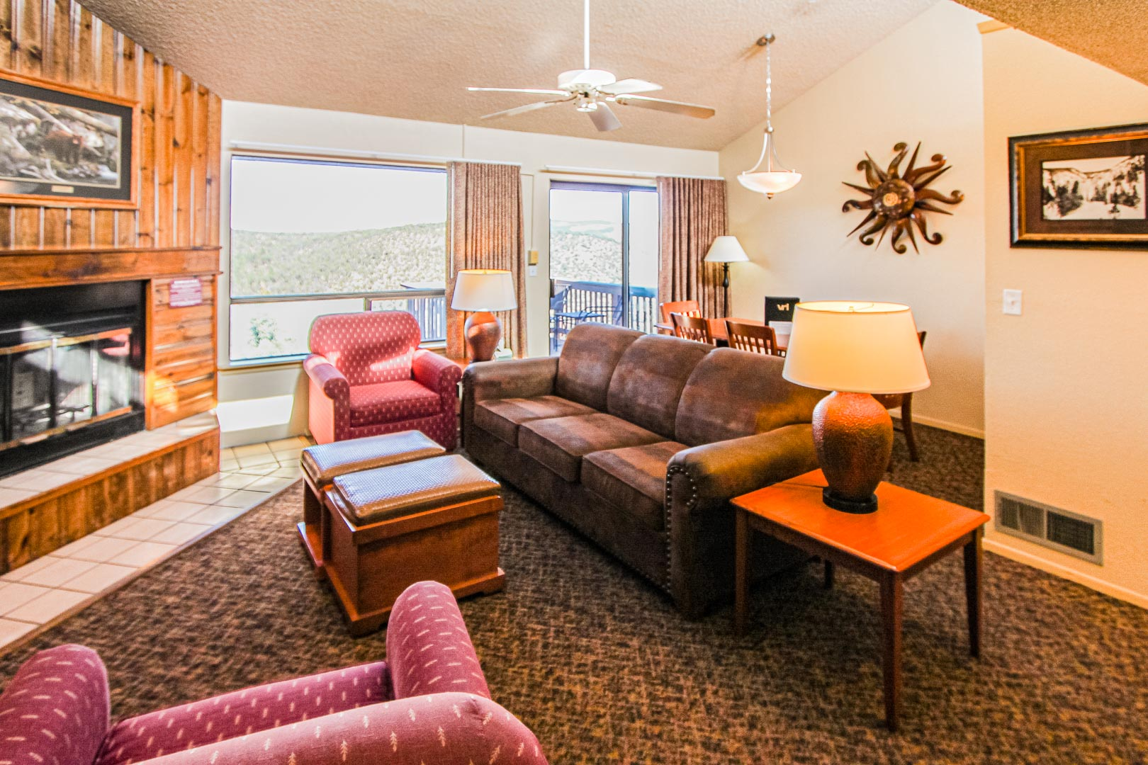 A standard living room area at VRI's Crown Point Condominiums in New Mexico.