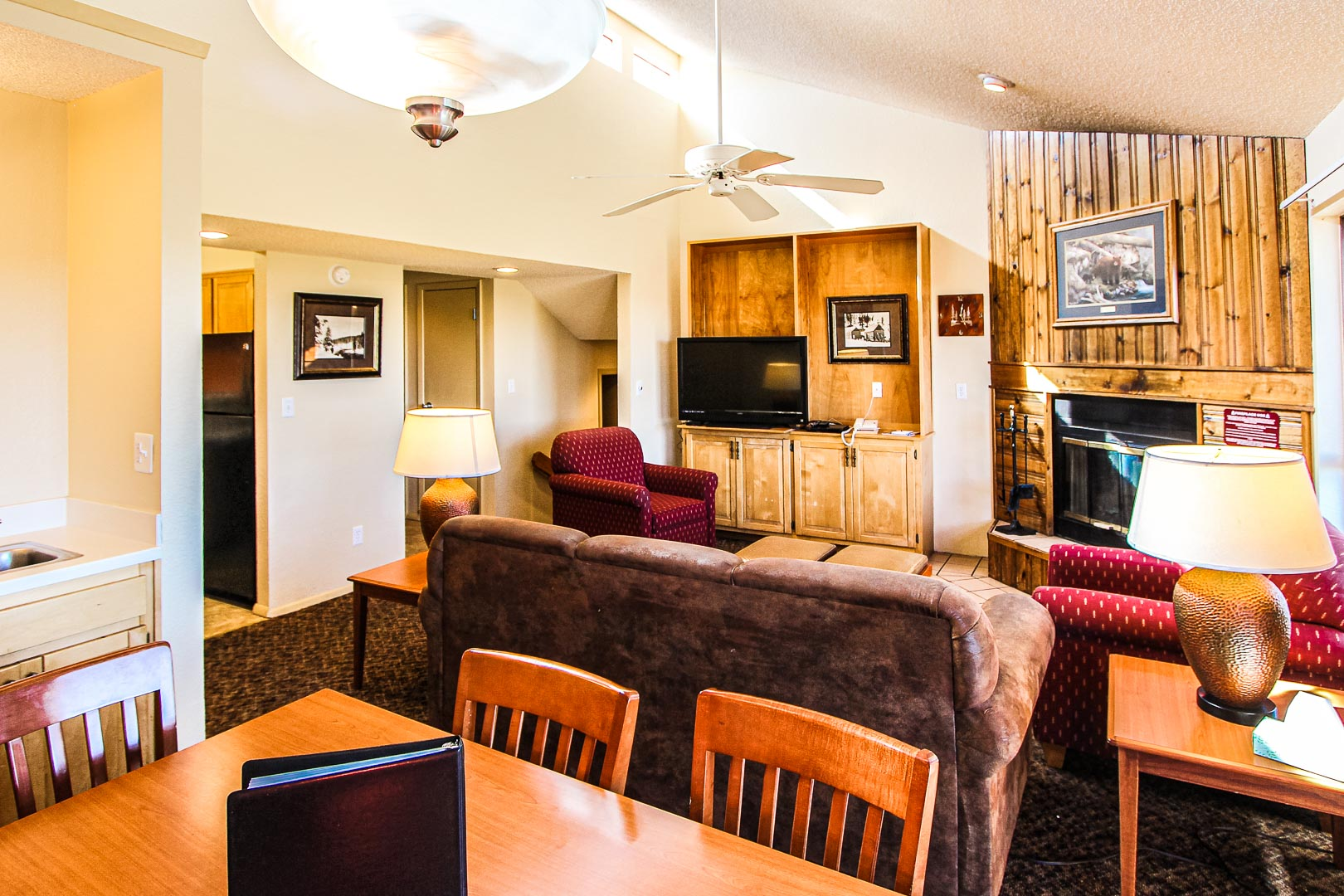 A charming living and dining room area  at VRI's Crown Point Condominiums in New Mexico.