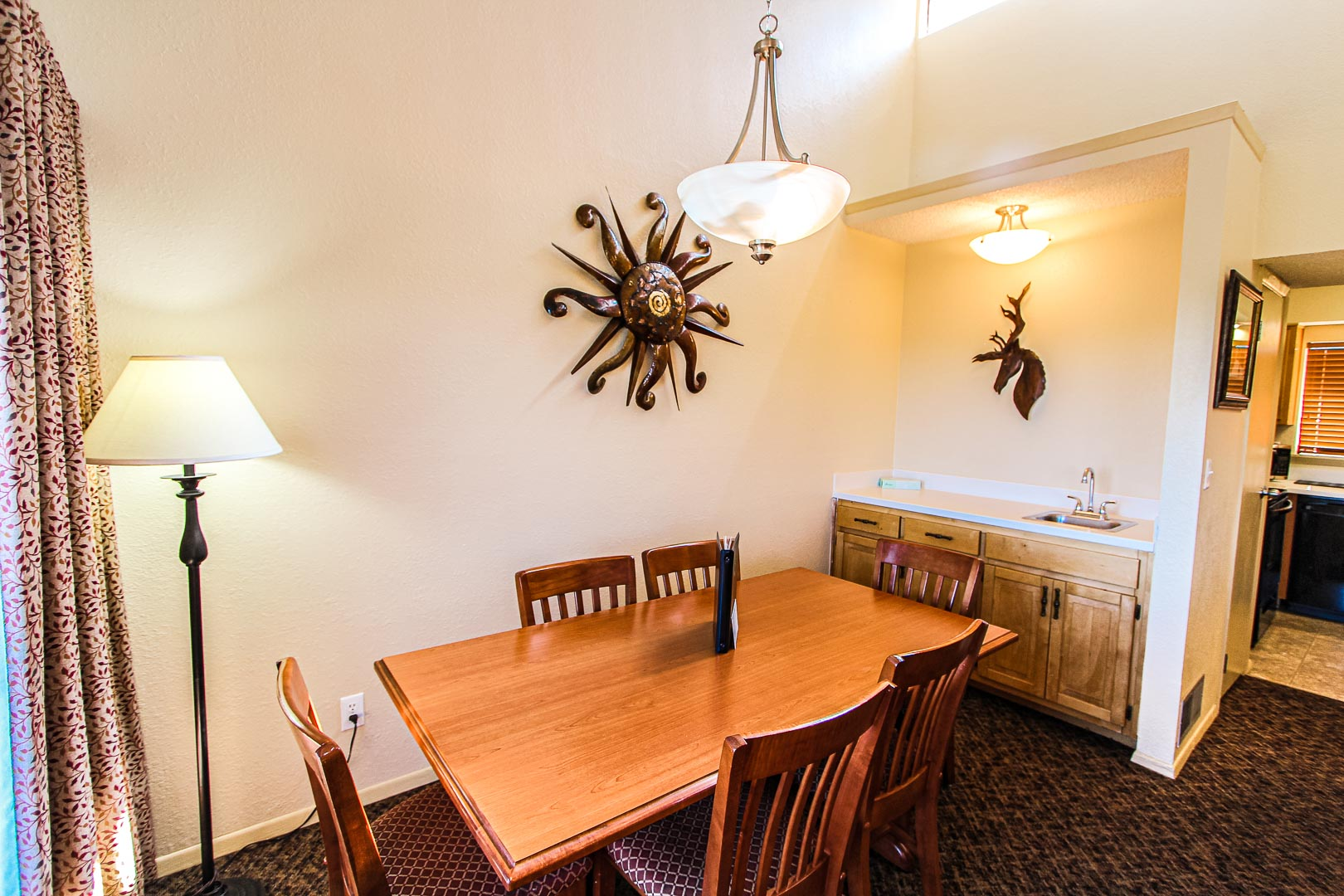 A charming dining room area at VRI's Crown Point Condominiums in New Mexico.