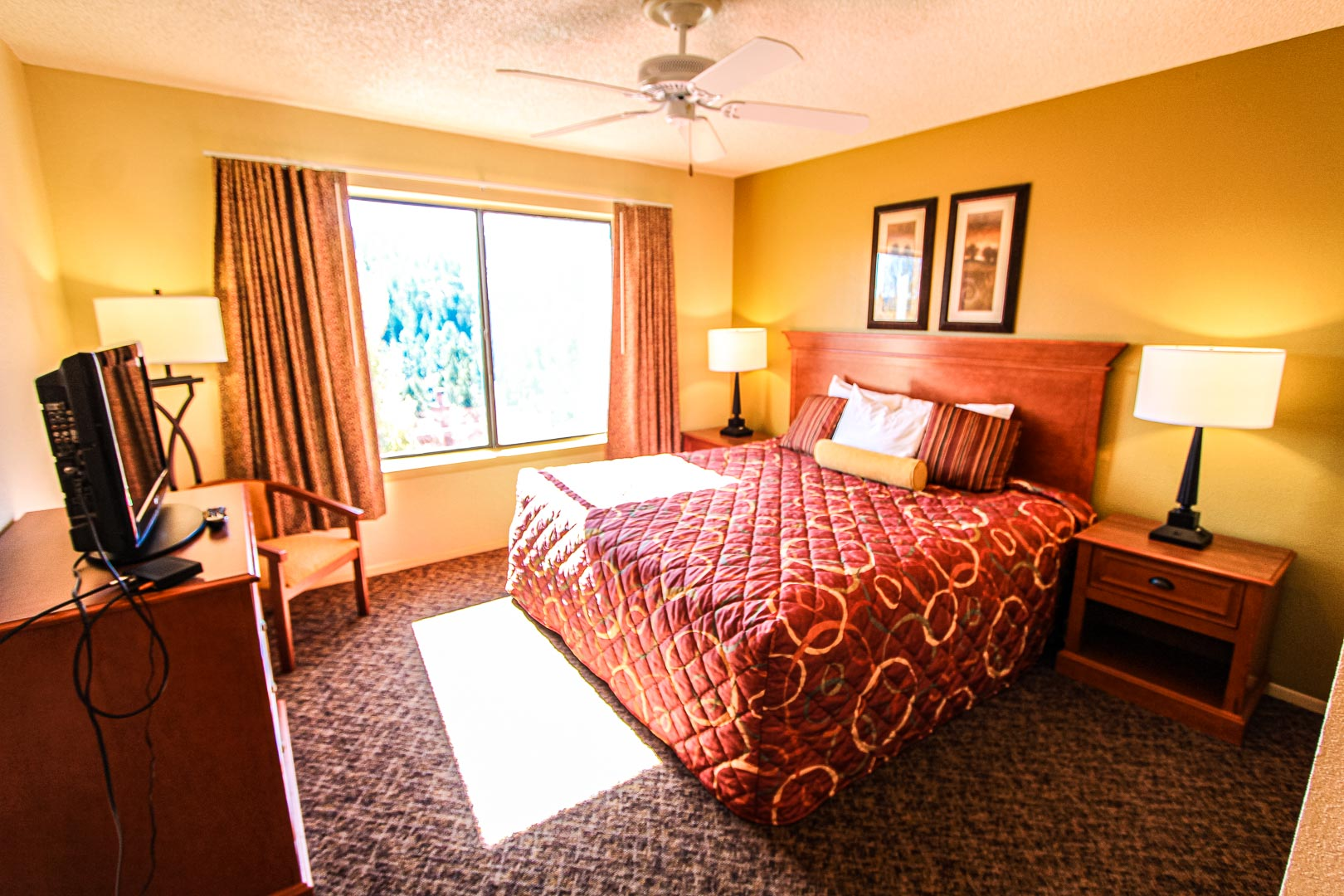 A standard master bedroom at VRI's Crown Point Condominiums in New Mexico.