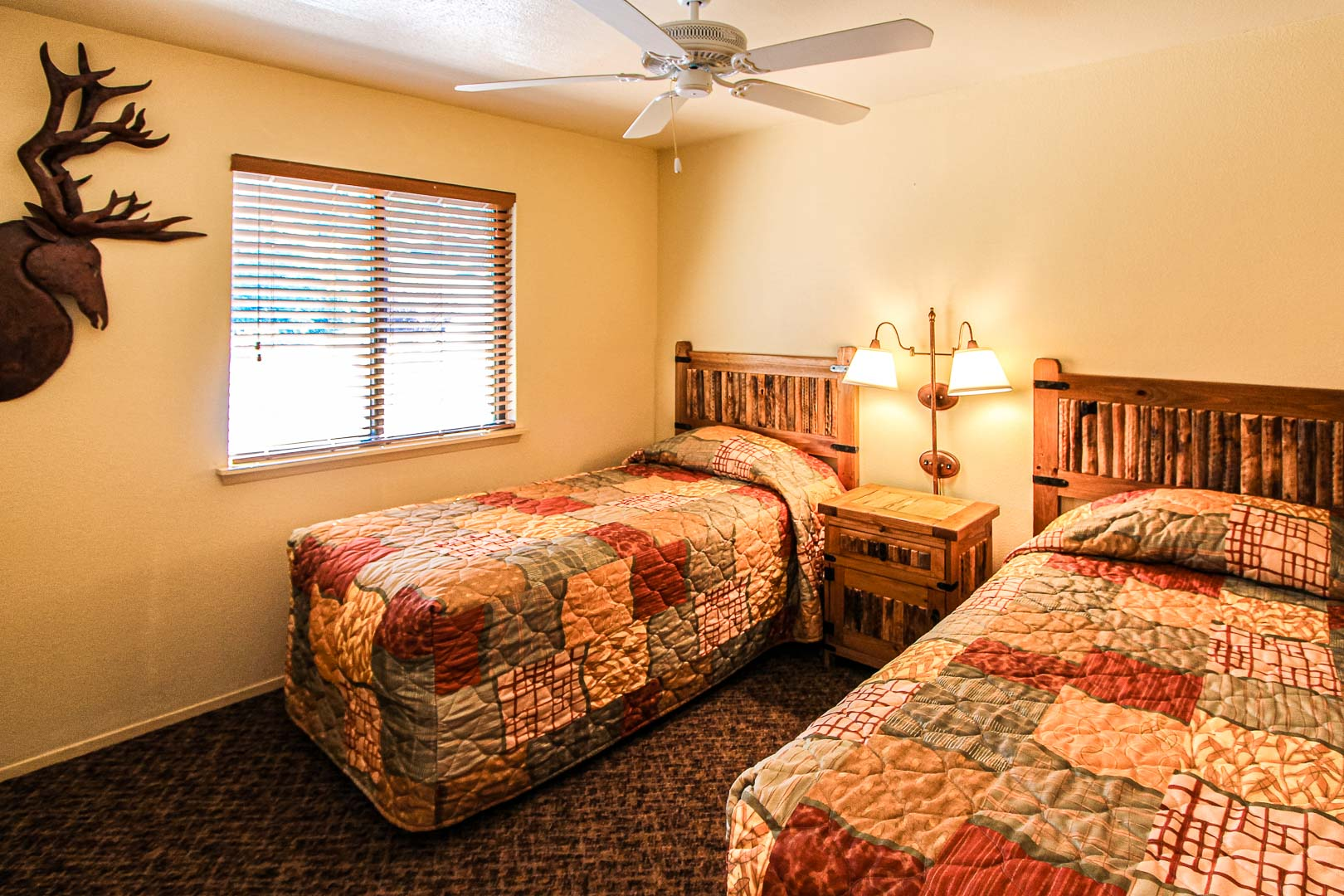 A standard two bedroom unit with double beds at VRI's Crown Point Condominiums in New Mexico.